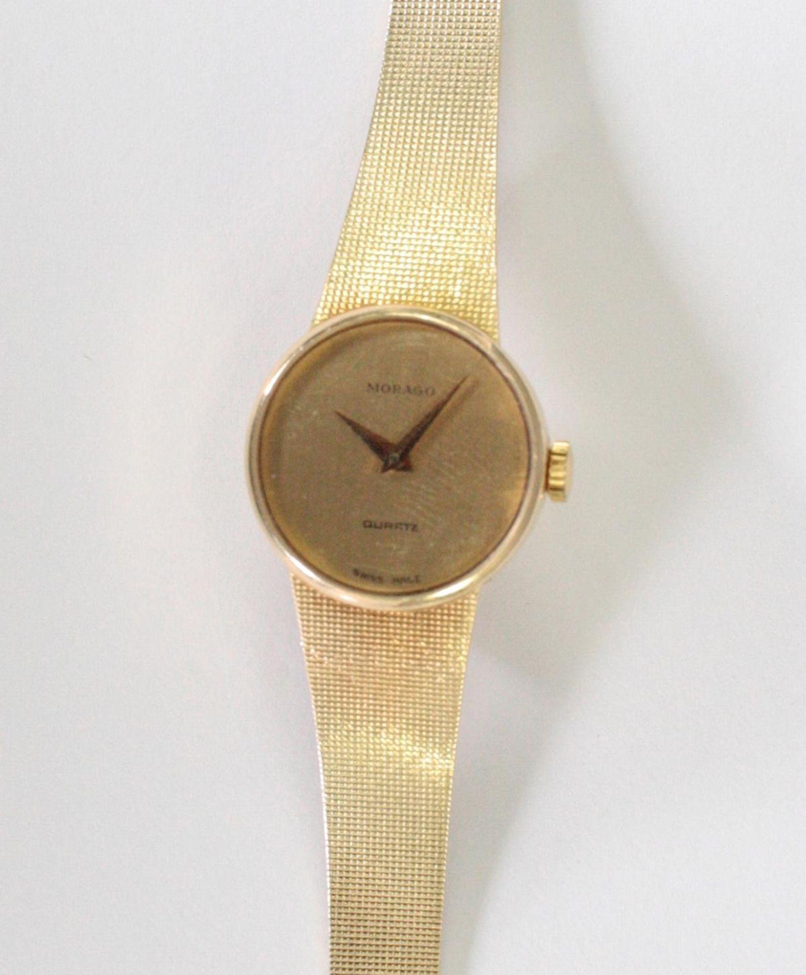 Morago Damenarmbanduhr, 14 Karat Gelbgold - Bild 3 aus 3