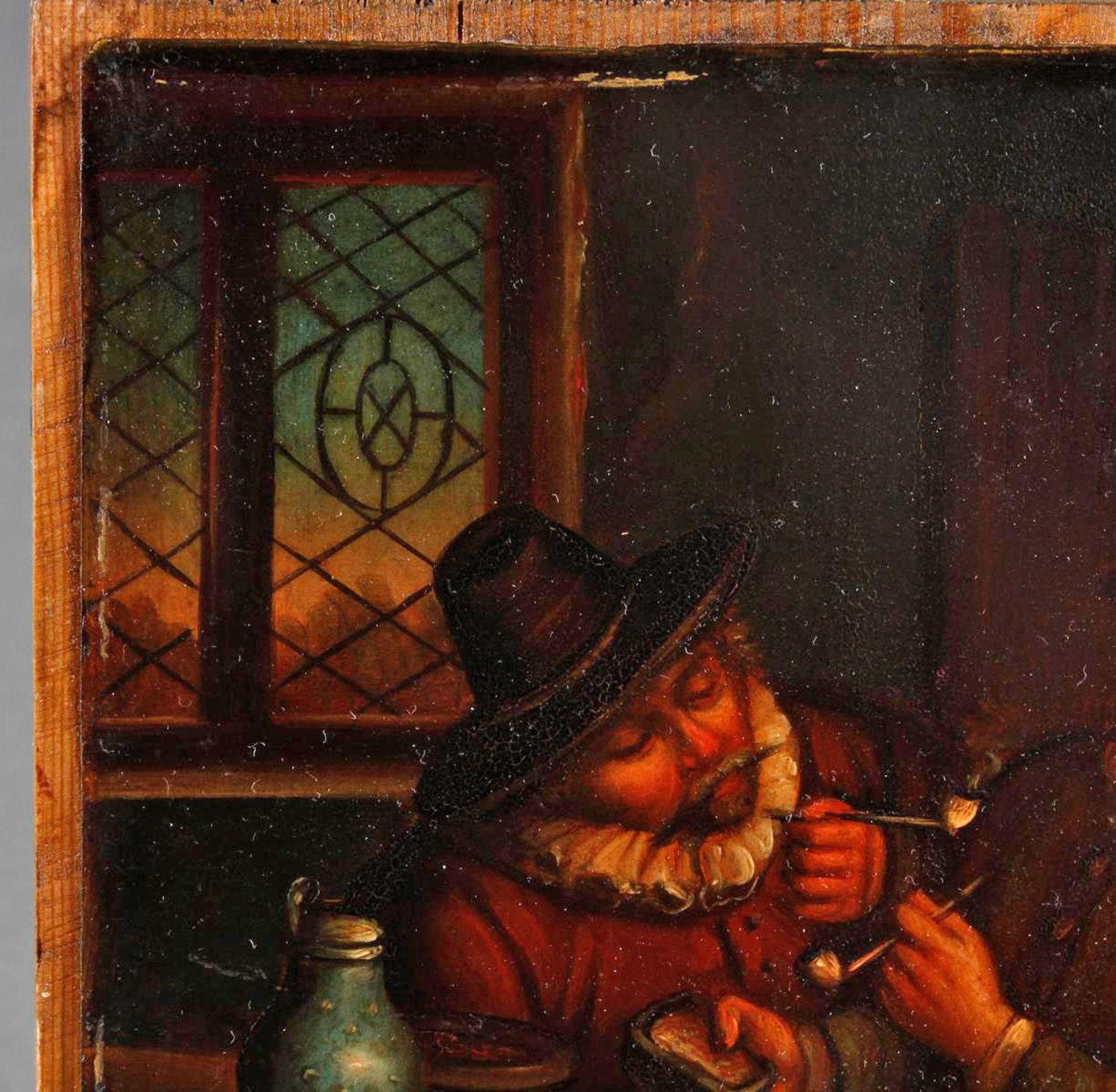 """Ölgemälde, wohl Holland 18. Jahrhundert, """"Die Raucher in der guten Stube - Bild 4 aus 5"""