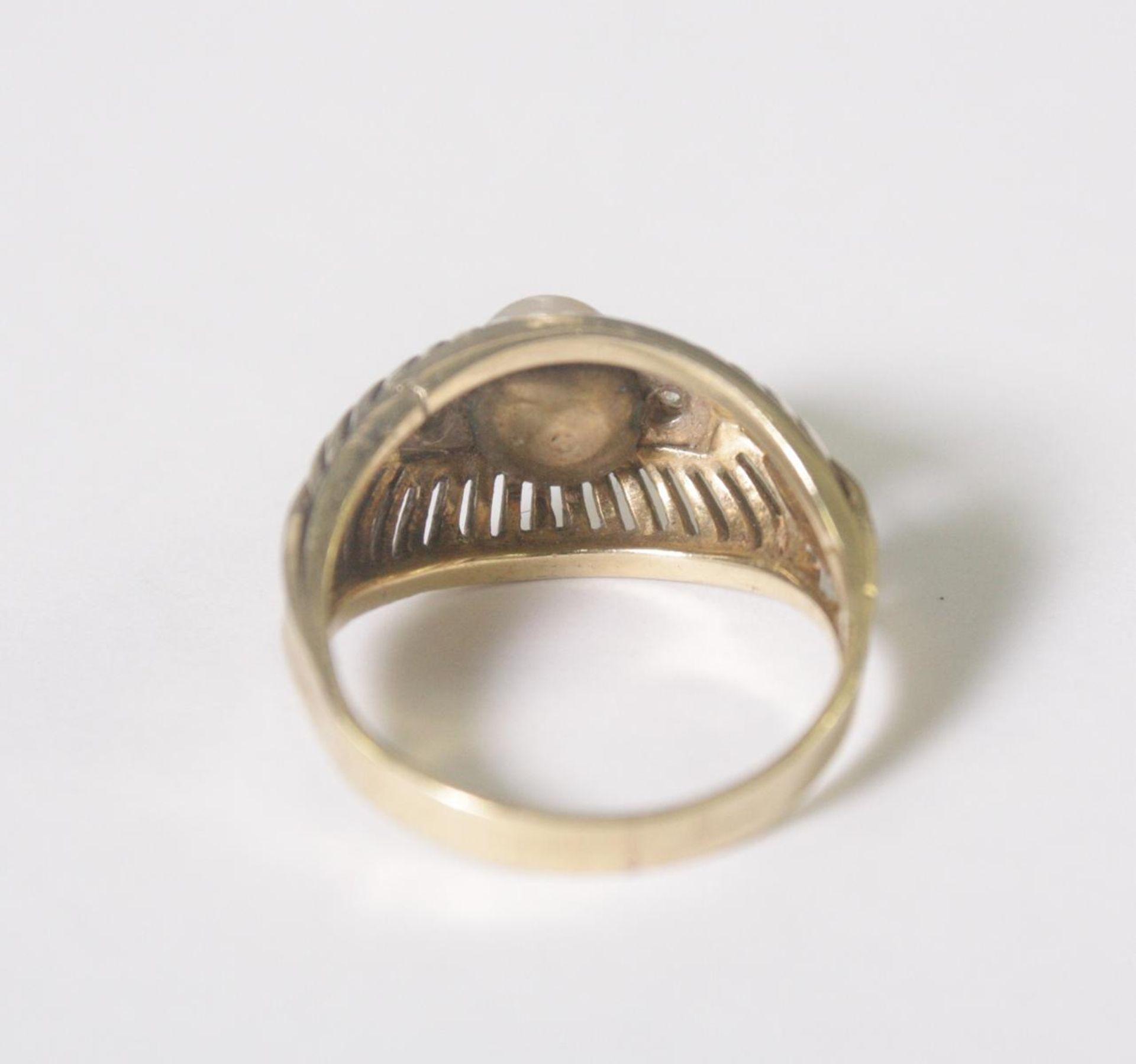 Damenring mit Perle und 2 Diamanten, 14 Karat Gelbgold - Bild 4 aus 4