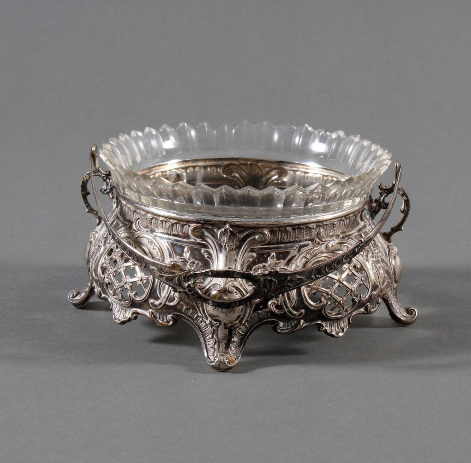 Silbernes Gebäckschälchen mit Glaseinsatz und Gravur - Bild 2 aus 11