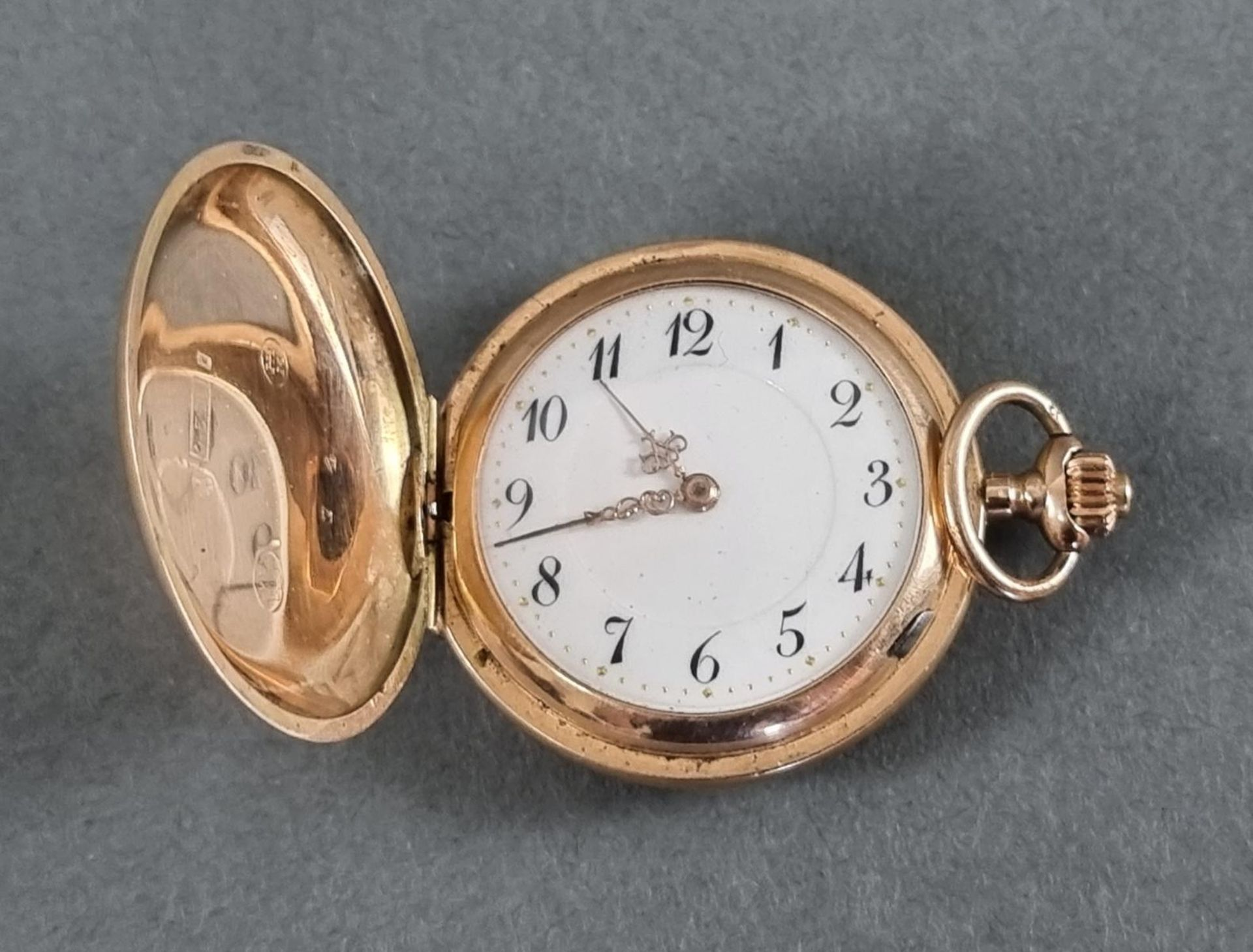 Goldene Damentaschenuhr, 14 Karat Gelbgold - Bild 2 aus 7