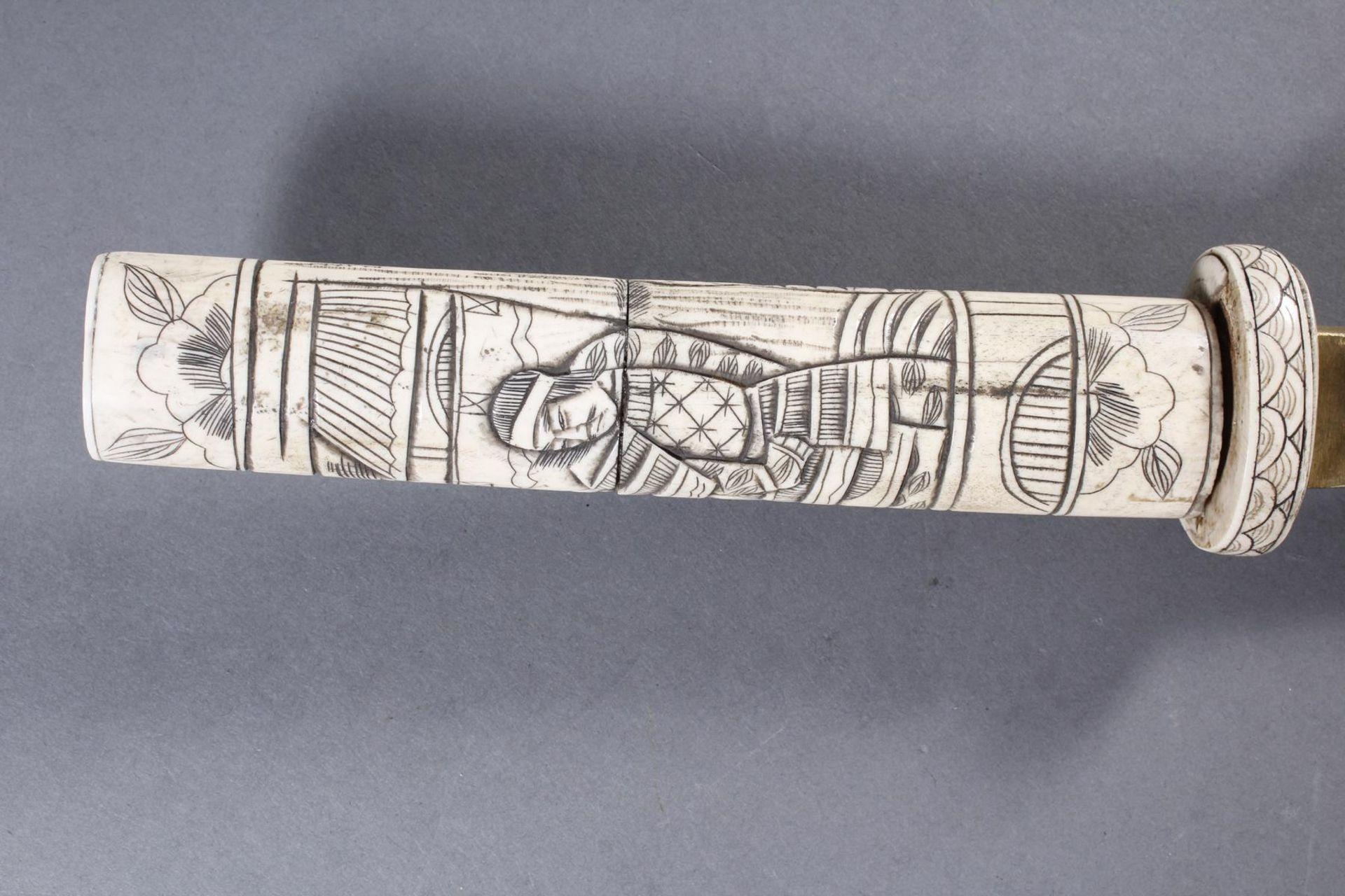 Kurzschwert aus Hirschhorn, Japan Meiji Periode - Bild 6 aus 12