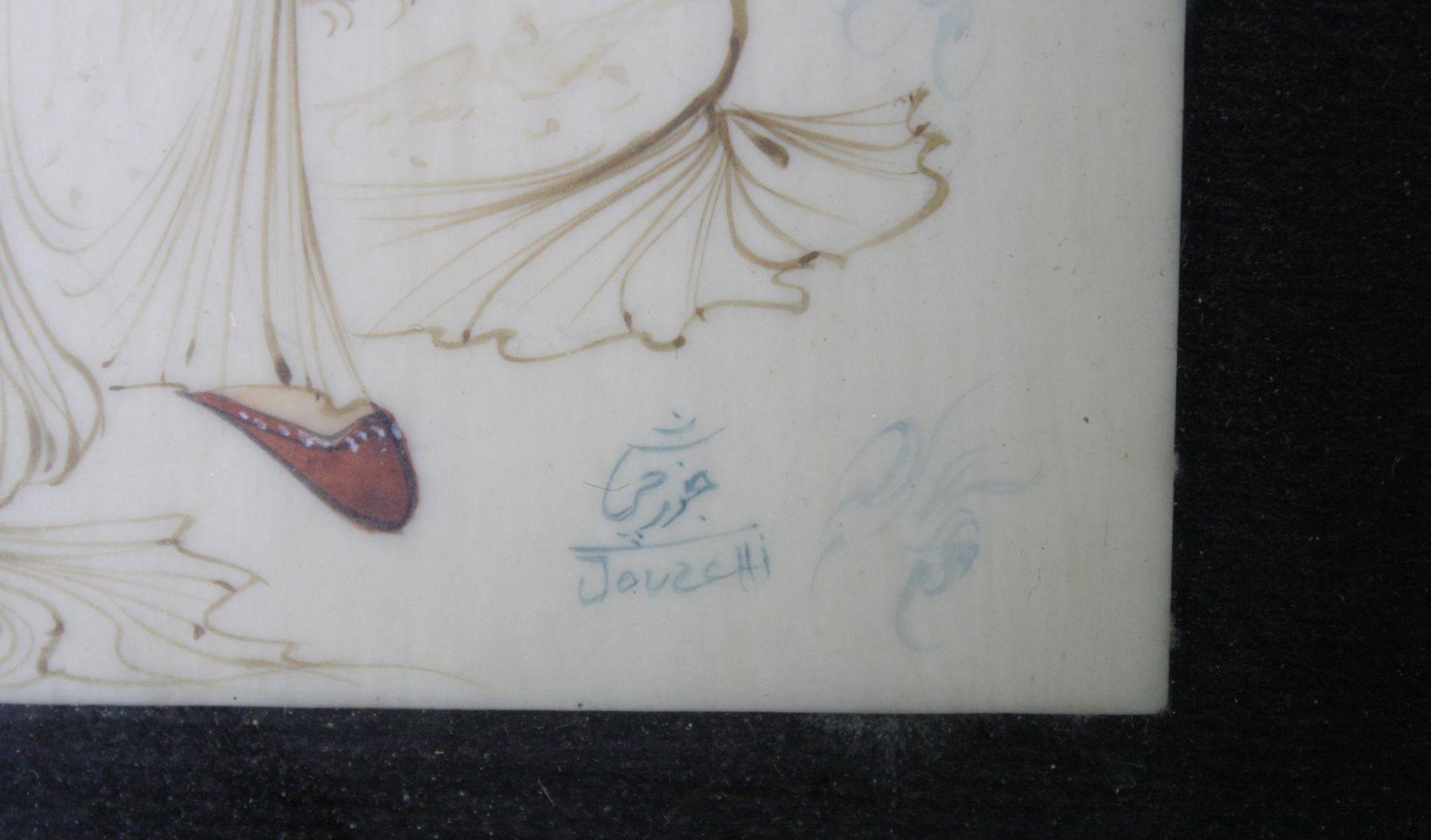 2 Miniaturbilder auf Beinplättchen, 1 Schrift-Relief, Persien, 20. Jahrhundert - Bild 4 aus 4