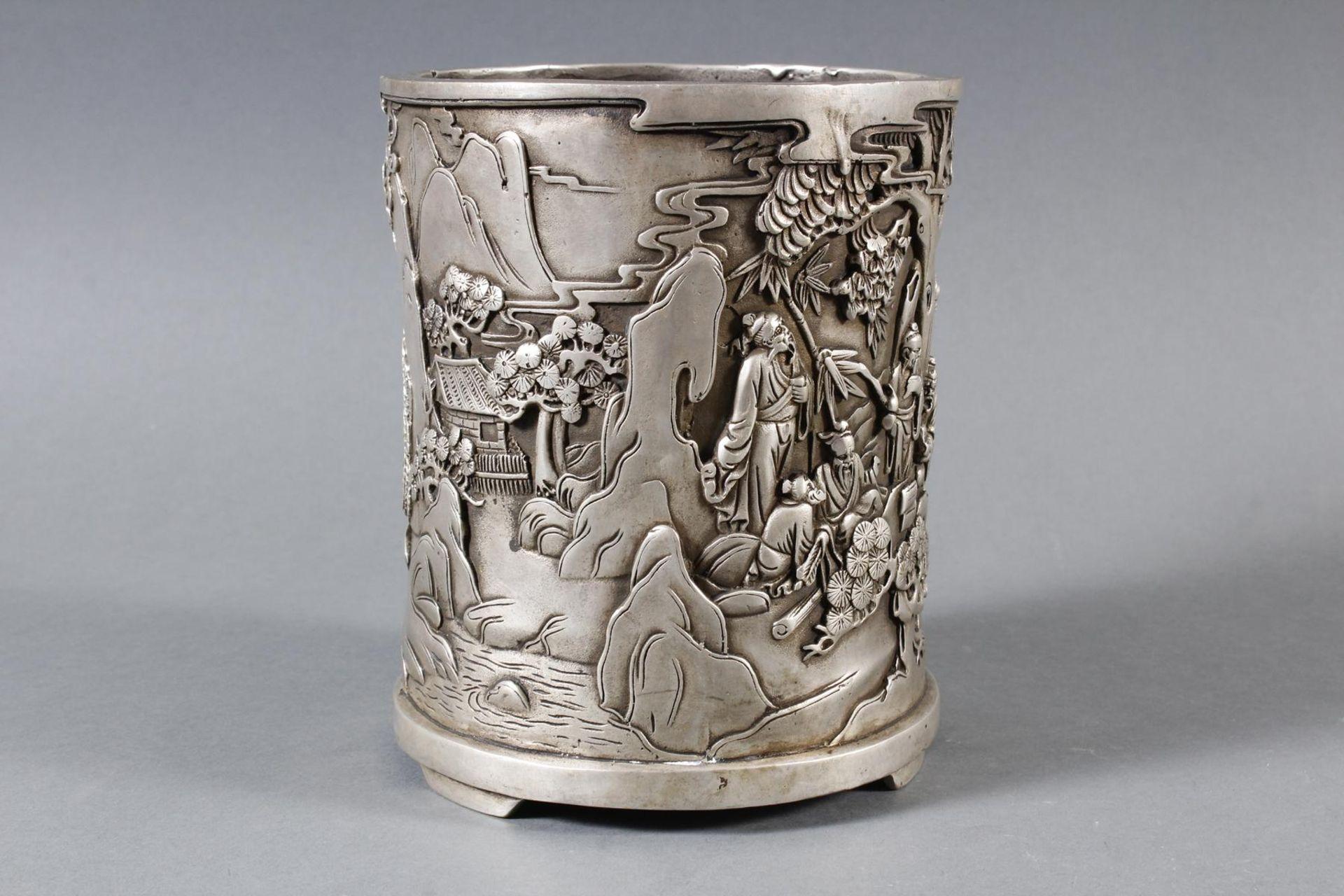 Pinselbecher aus verzinnter Bronze, China 1 Hälfte 20. Jahrhundert - Bild 5 aus 7