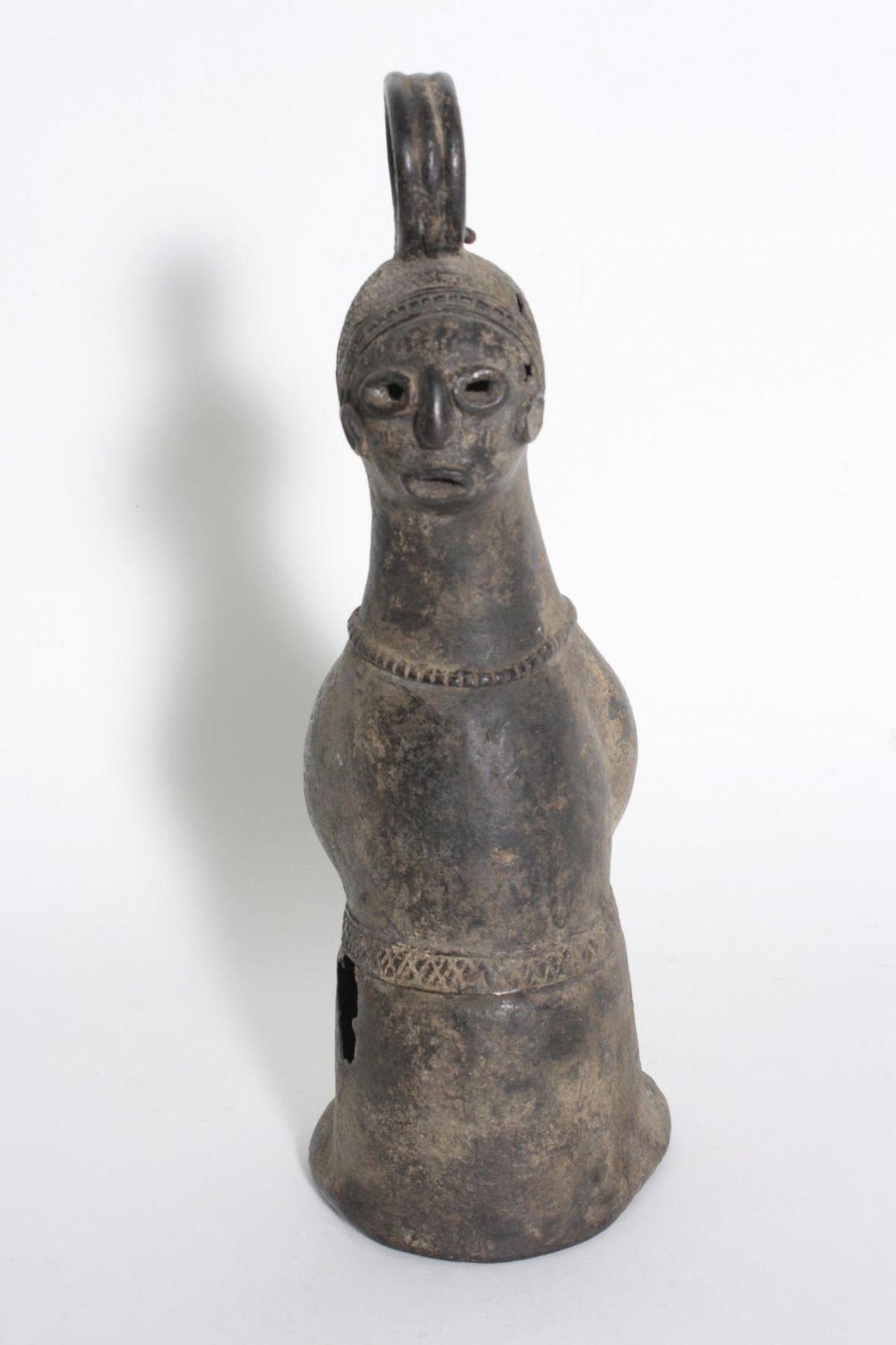 Bronze-Doppelkopf-Glocke, Benin, Nigeria, 1. Hälfte 20. Jh. - Bild 3 aus 5