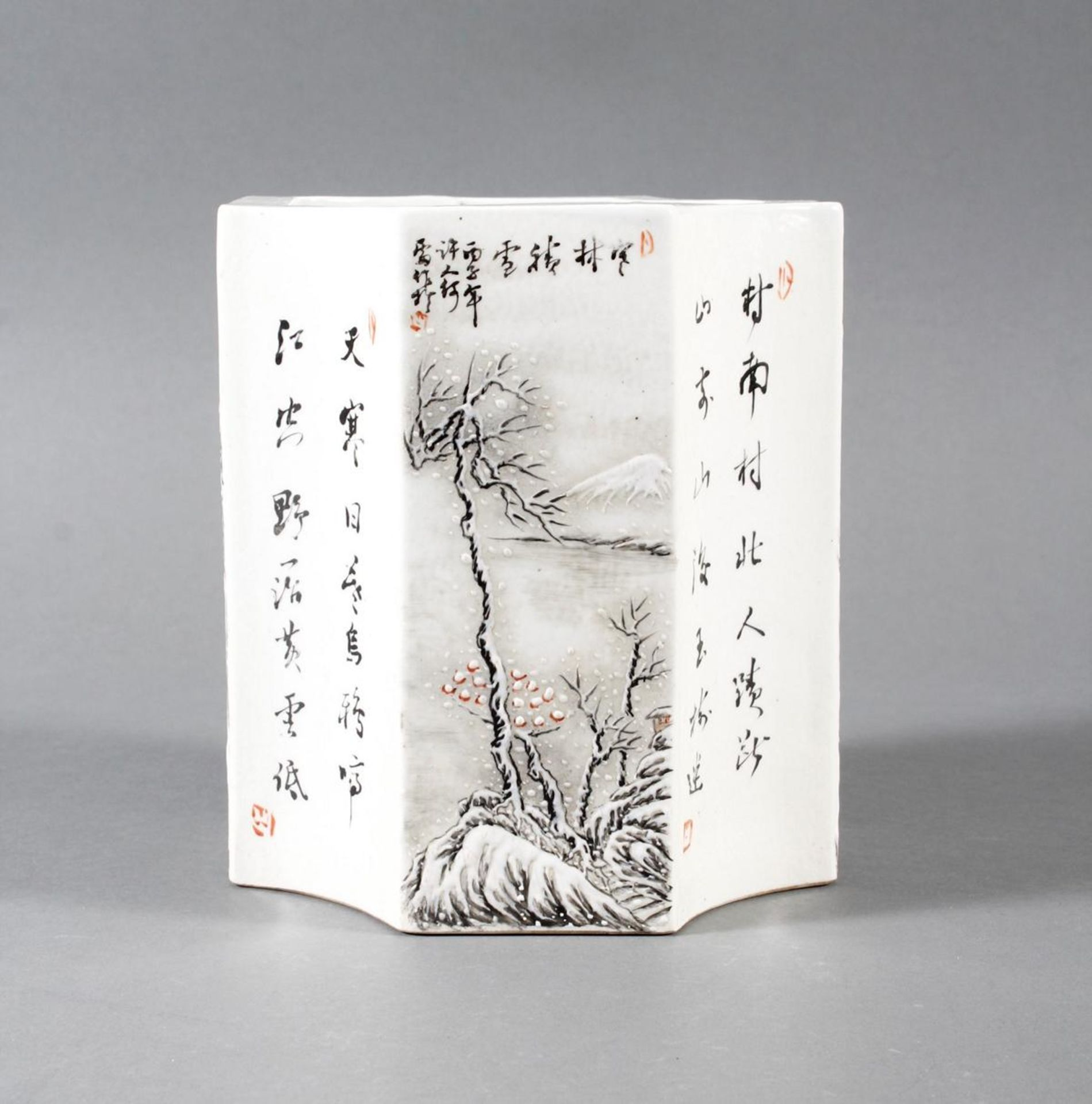Porzellan-Pinselbehälter, China, Mitte 20. Jahrhundert