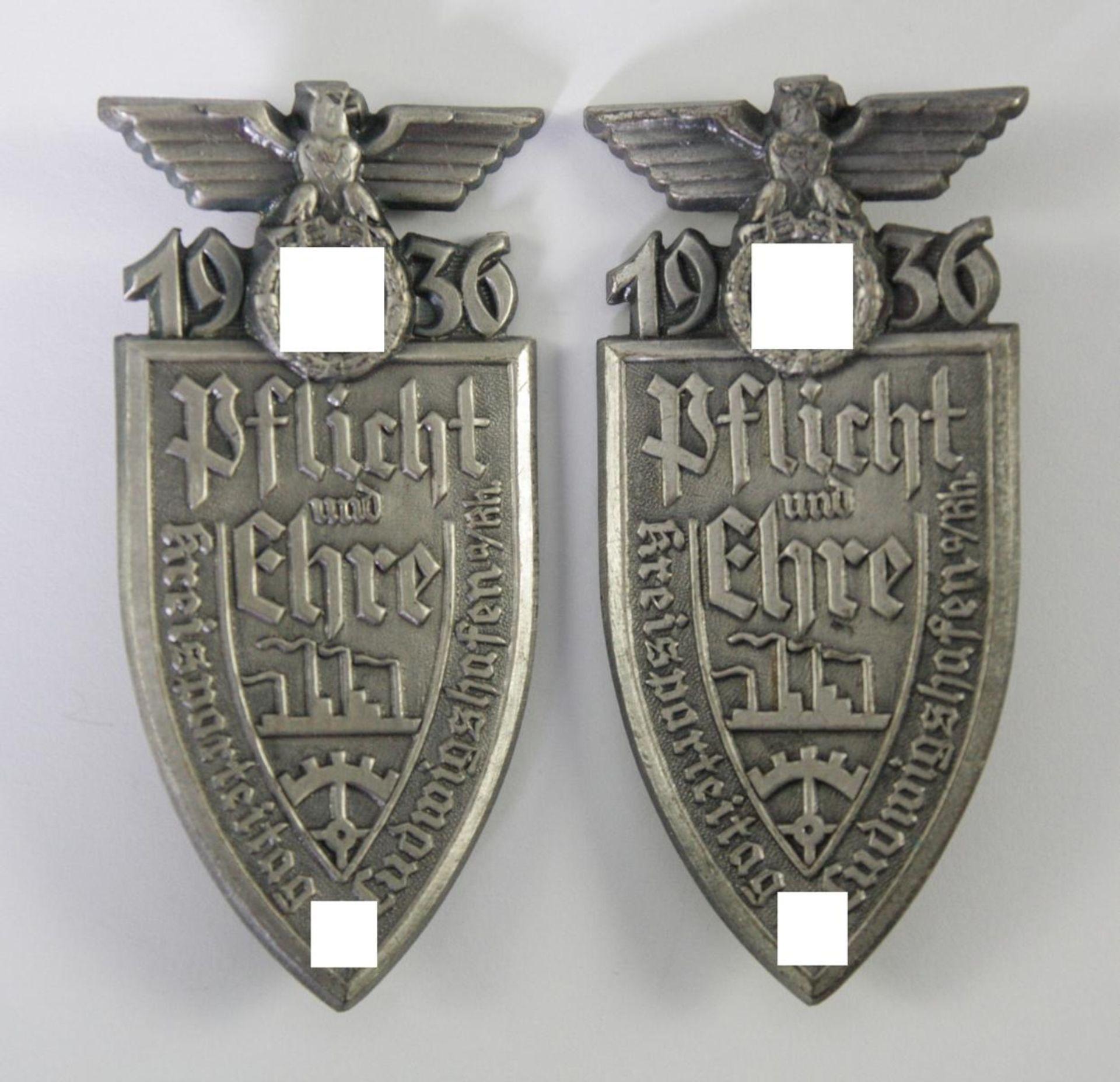 """2x Abzeichen, Kreisparteitag Ludwigshafen 1936 """"Pflicht und Ehre"""