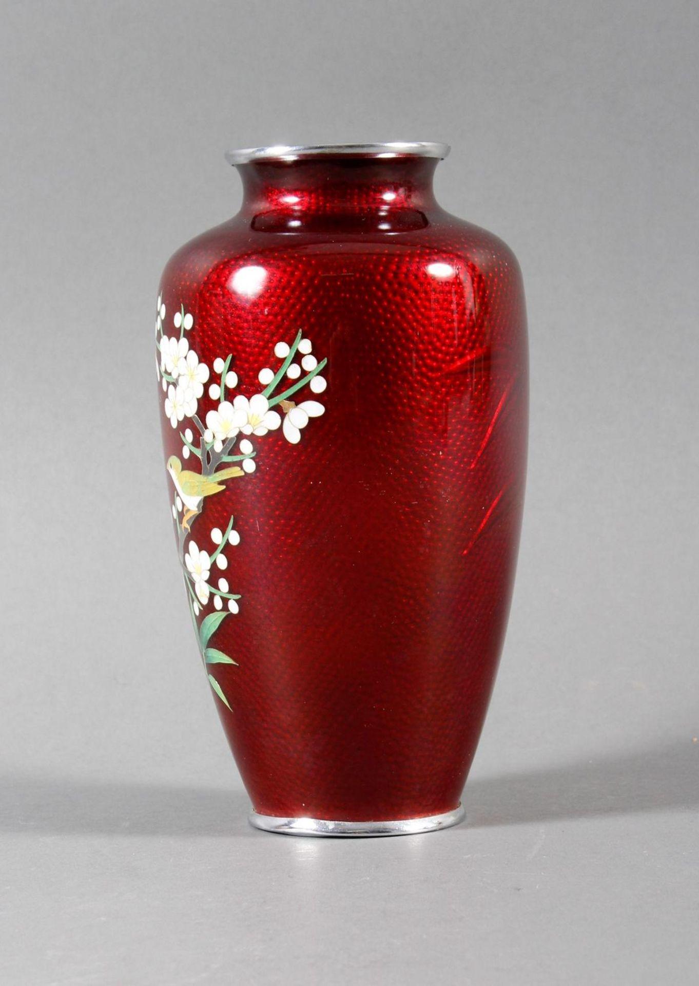 Silbersteg Cloisonne Ziervase, Japan um 1930, wohl Werkstatt Ando Jubei (1876-1956) - Bild 4 aus 9