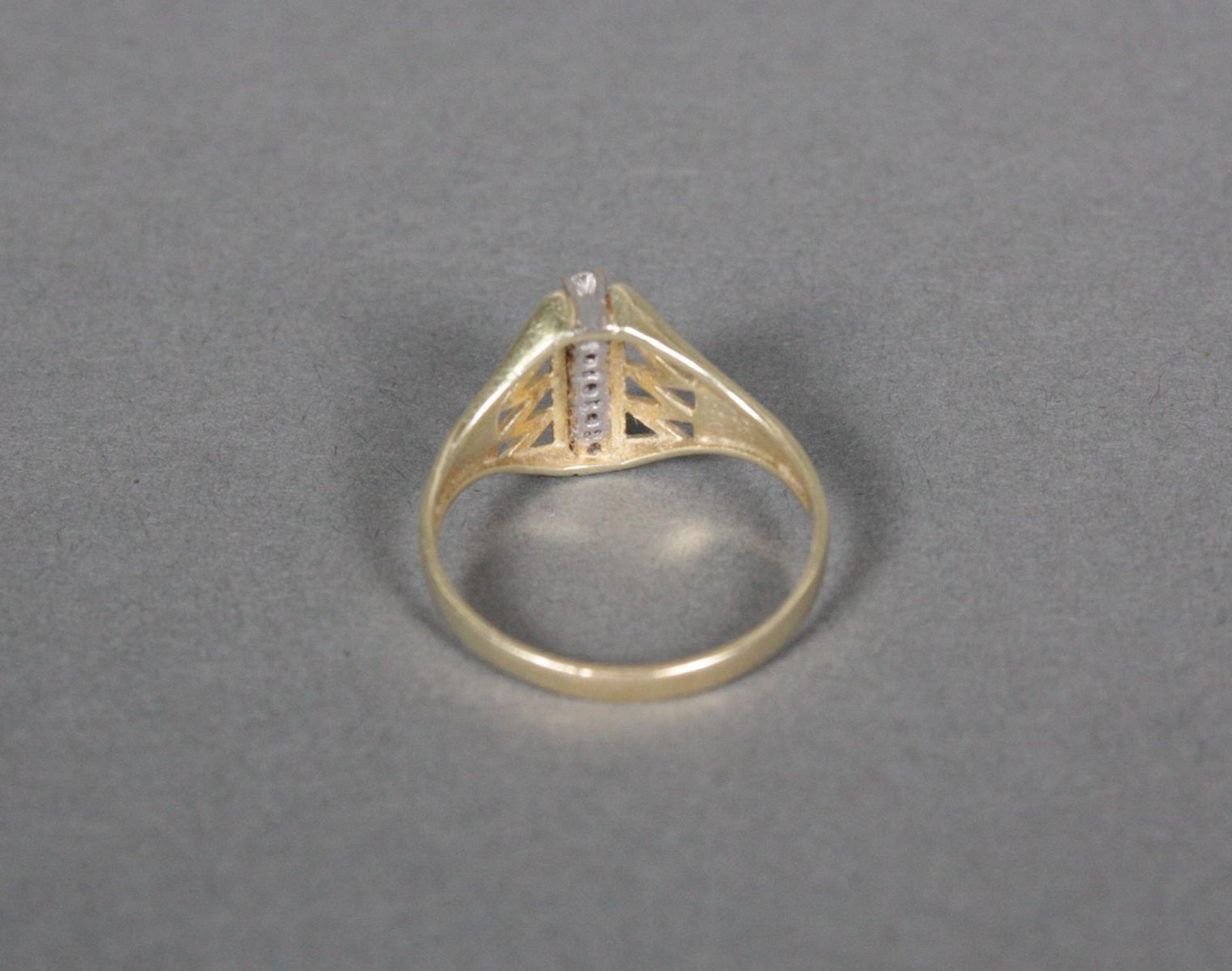 Damenring mit Diamanten, 14 Karat Gelbgold - Bild 3 aus 3