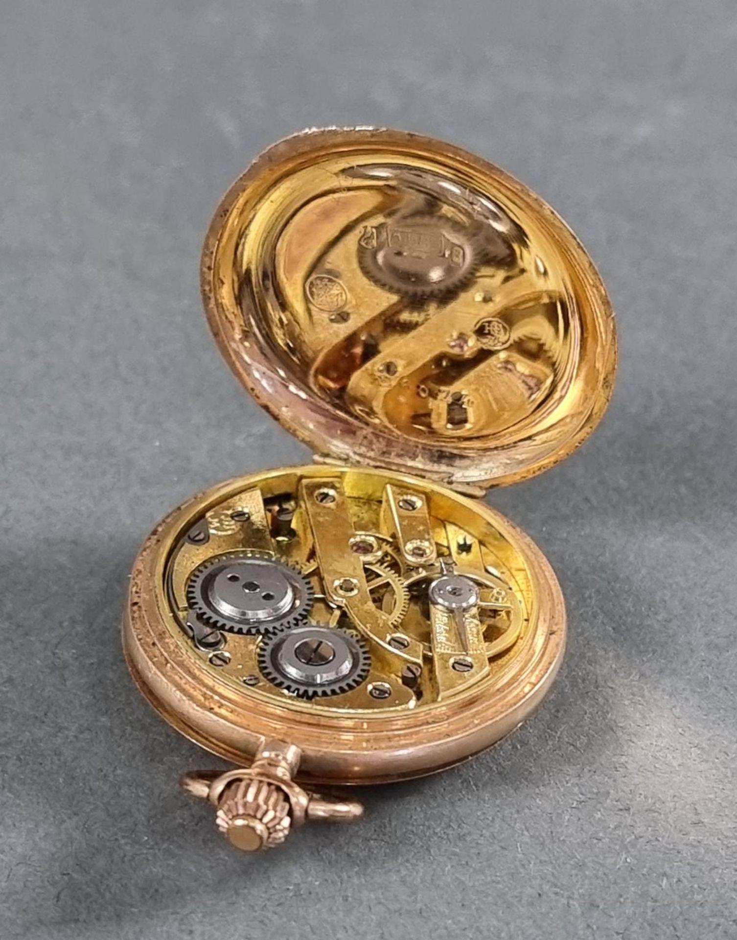 Goldene Damentaschenuhr, 14 Karat Gelbgold - Bild 4 aus 7