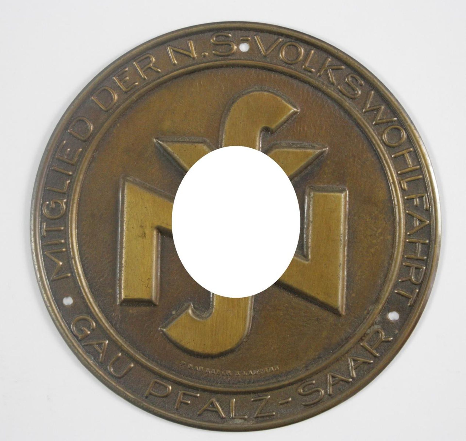 Kleine Türplakette NSV - Mitglied der NS Volkswohlfahrt Gau Pfalz-Saar