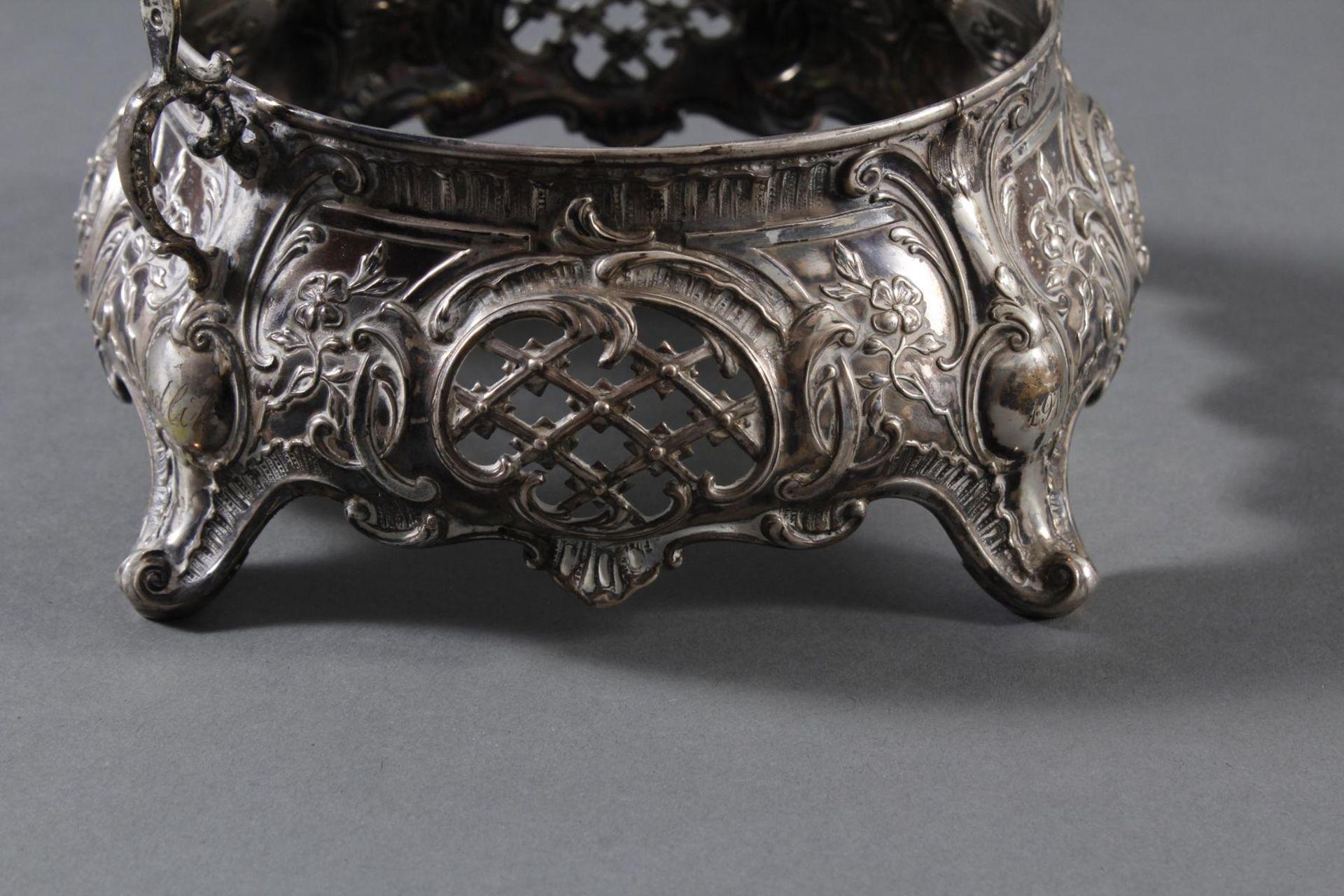 Silbernes Gebäckschälchen mit Glaseinsatz und Gravur - Bild 8 aus 11