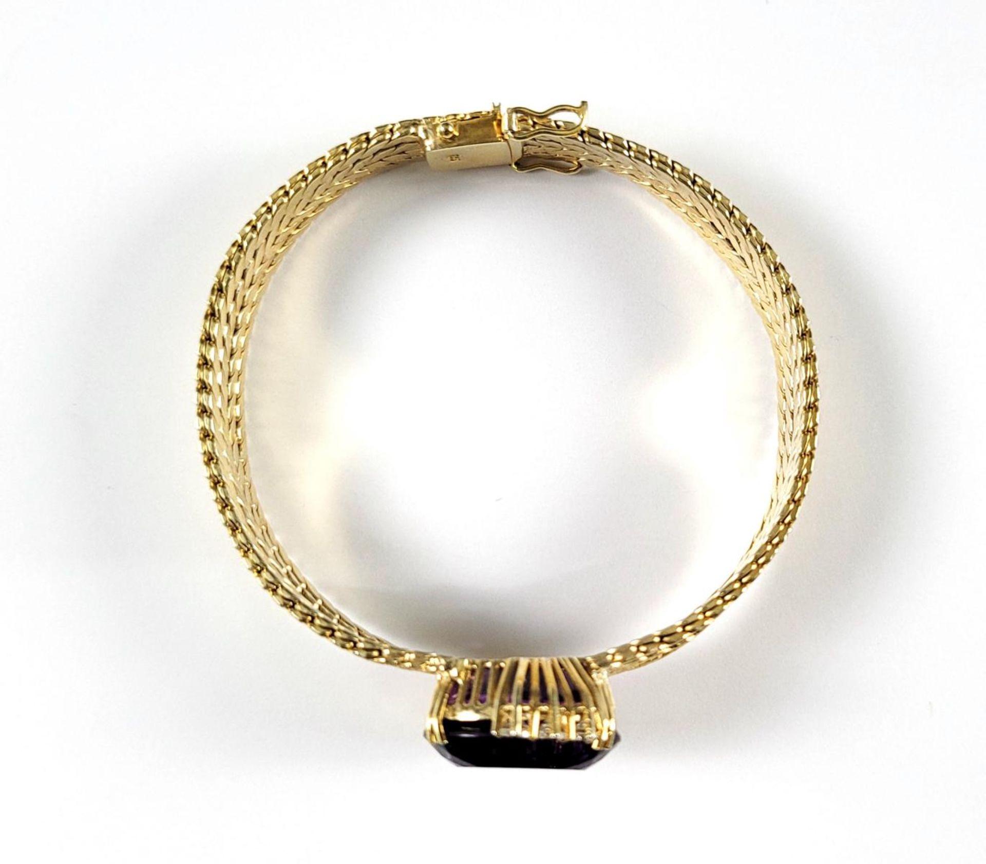 Damenarmband mit großem, facettierten Amethyst und Diamanten, 14 Karat Gelbgold - Bild 5 aus 7