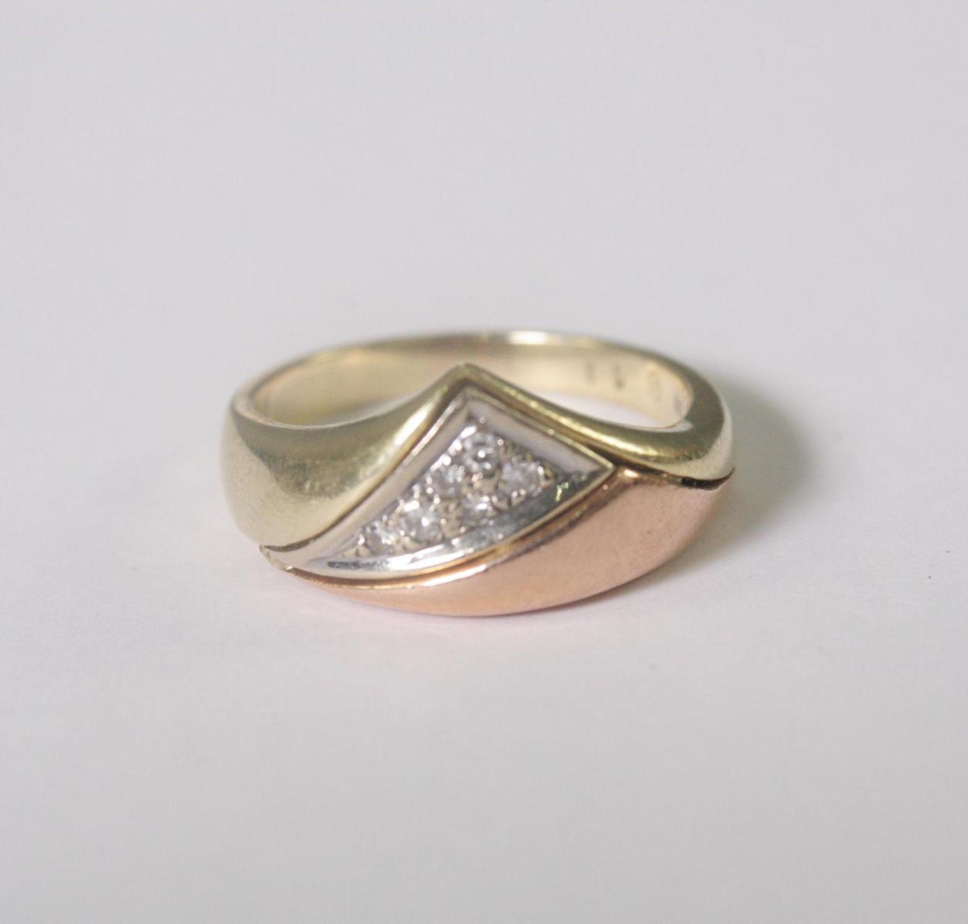 Damenring mit Diamanten, 14 Karat Gelbgold - Bild 2 aus 4