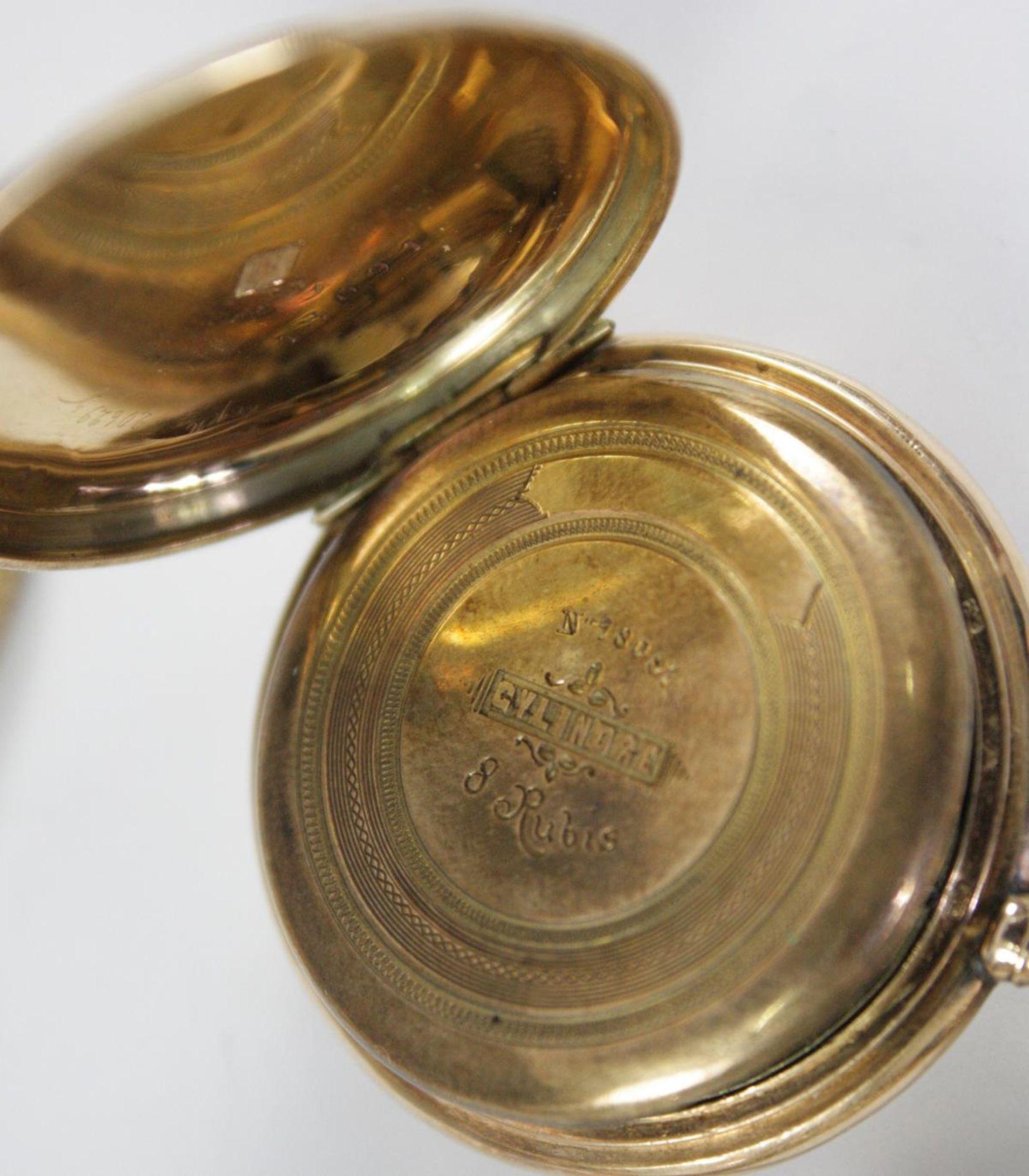 Goldene Damentaschenuhr, 14 Karat Gelbgold - Bild 4 aus 6