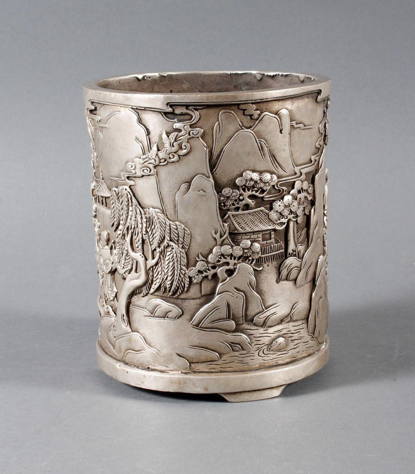 Pinselbecher aus verzinnter Bronze, China 1 Hälfte 20. Jahrhundert - Bild 2 aus 7