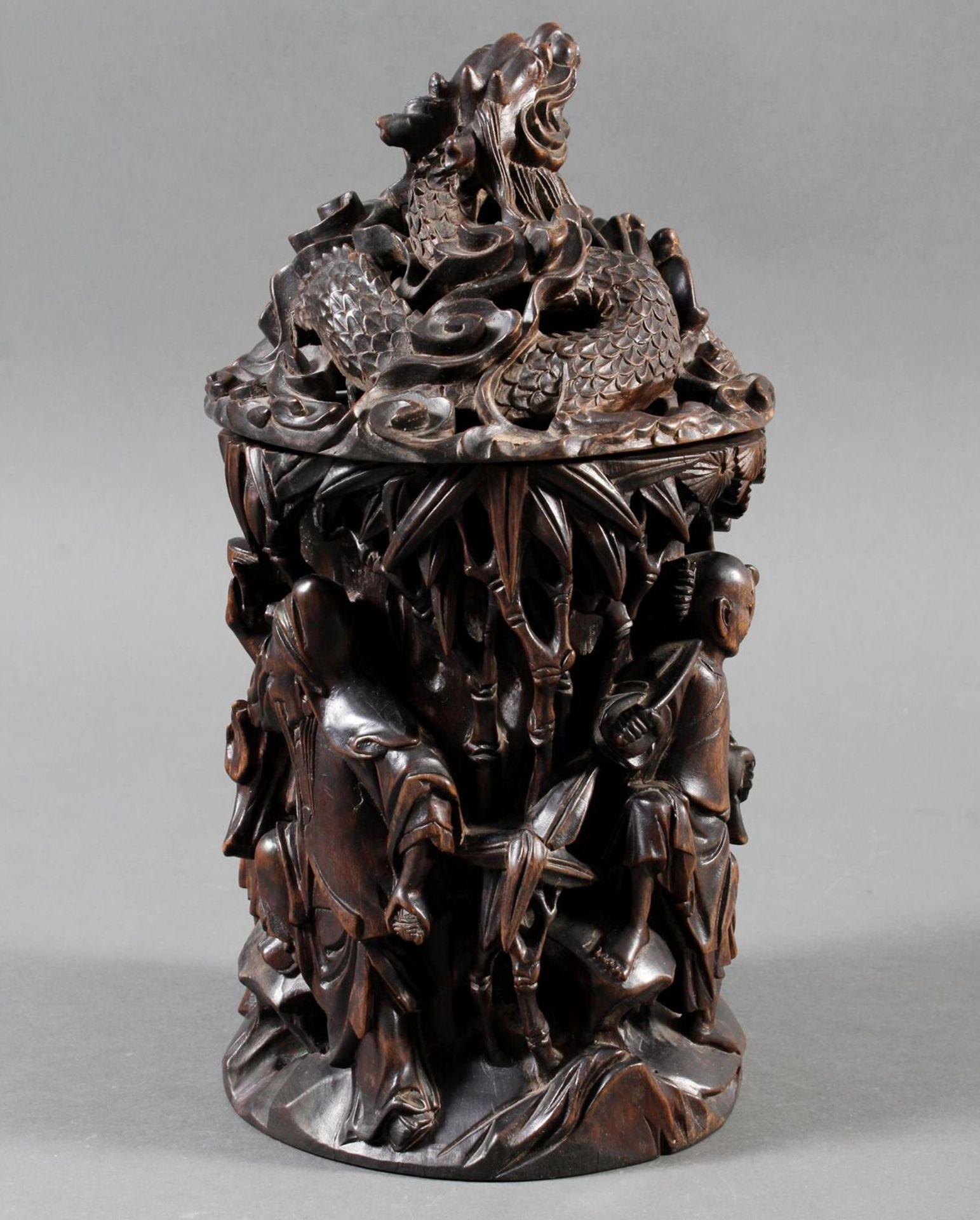 Pinselbecher mit Deckel, China ,Qing Zeit 18. / 19. Jahrhundert - Bild 2 aus 15