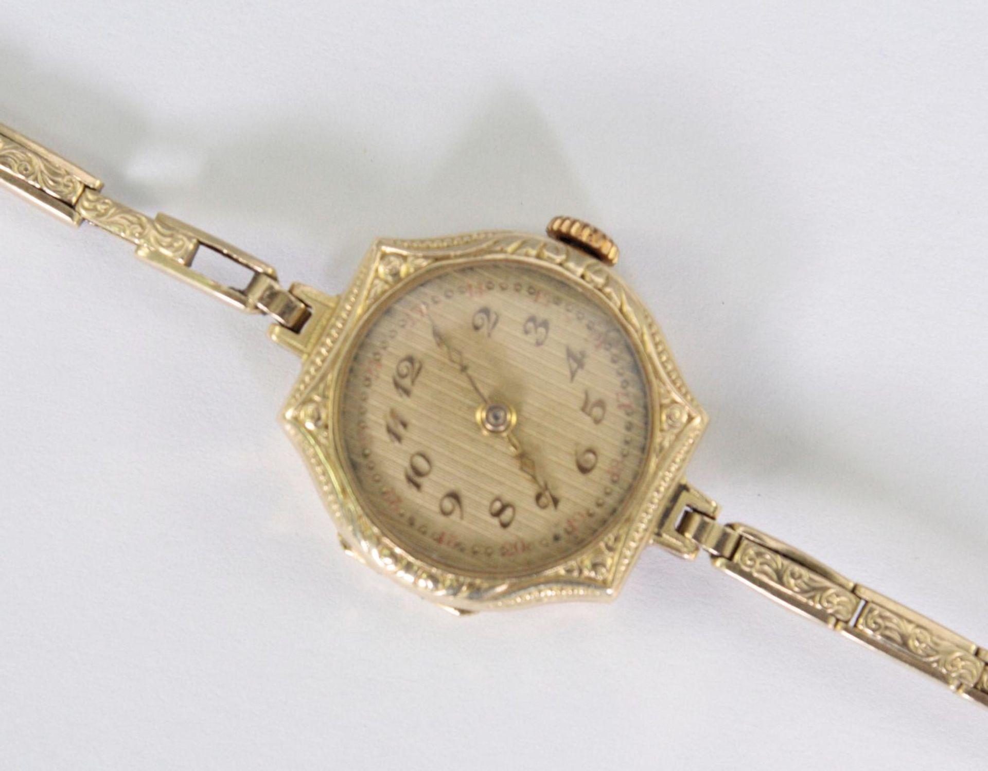 Antike Damenarmbanduhr, 14 Karat Gelbgold - Bild 2 aus 5