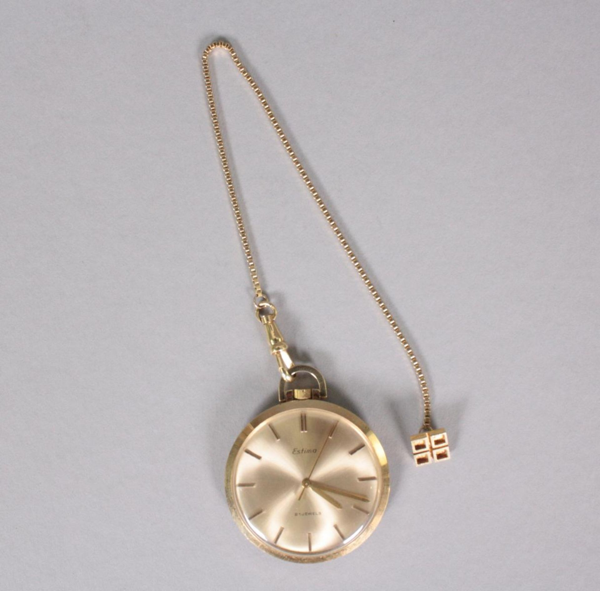 Taschenuhr mit Uhrenkette, 14 Karat Gelbgold
