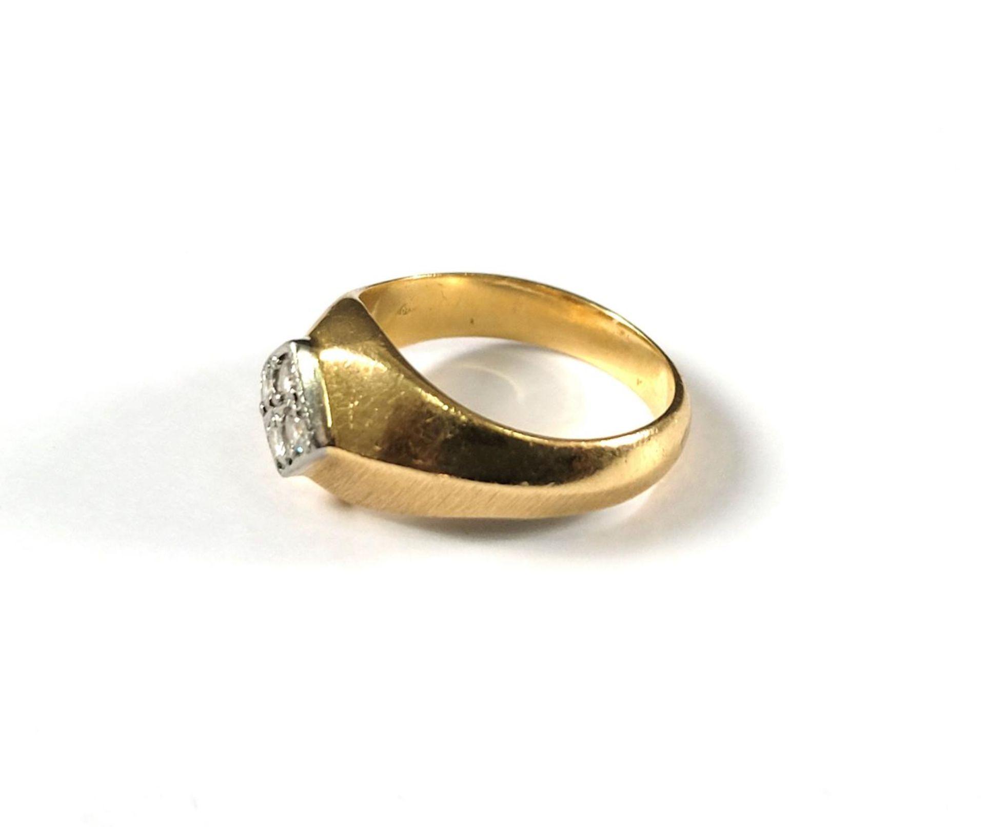 Damenring mit Diamanten, 18 Karat Gelbgold - Bild 4 aus 4