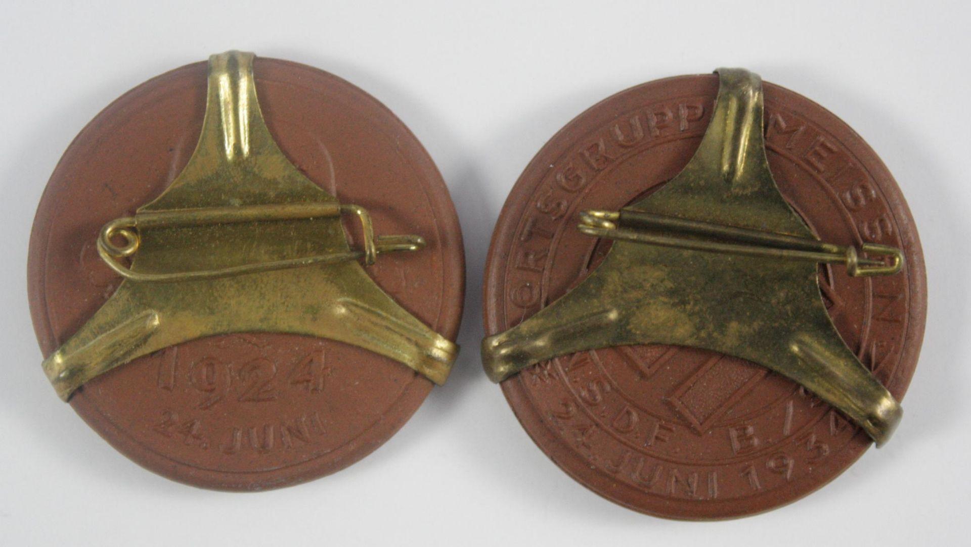 2x Medaille, Meissen Ortsgruppe NSDF B/ST 24. Juni 1934, Stahlhlembund - Bild 2 aus 2