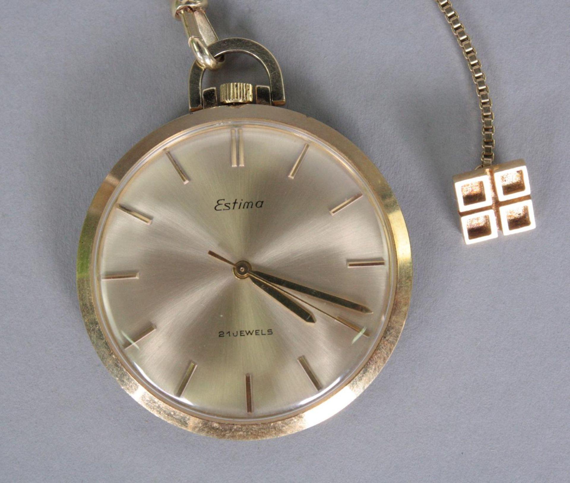 Taschenuhr mit Uhrenkette, 14 Karat Gelbgold - Bild 2 aus 3