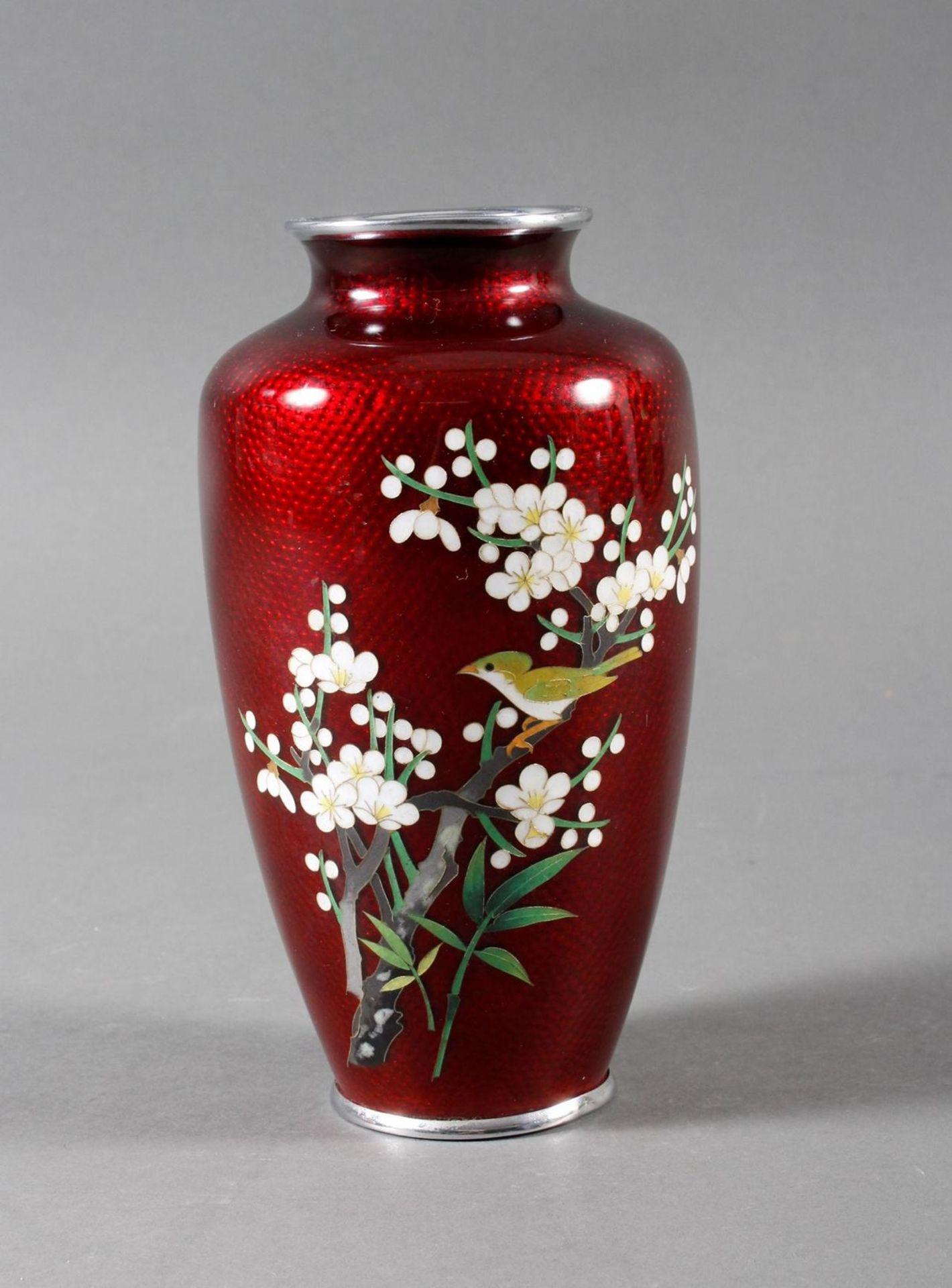 Silbersteg Cloisonne Ziervase, Japan um 1930, wohl Werkstatt Ando Jubei (1876-1956)