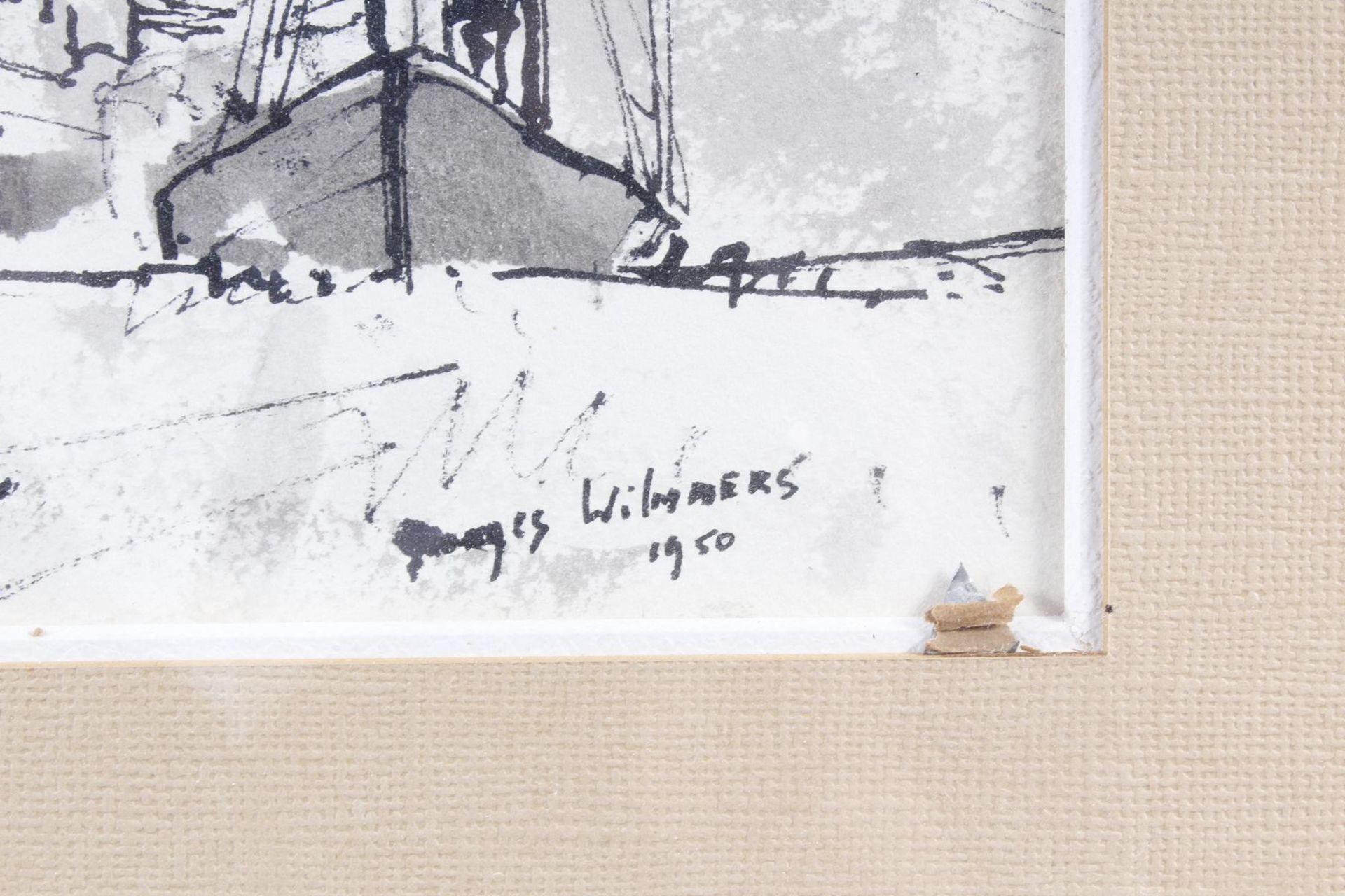 Aquarell, Hafenansicht mit Schiffen, Wilmmers 1950 - Bild 3 aus 5