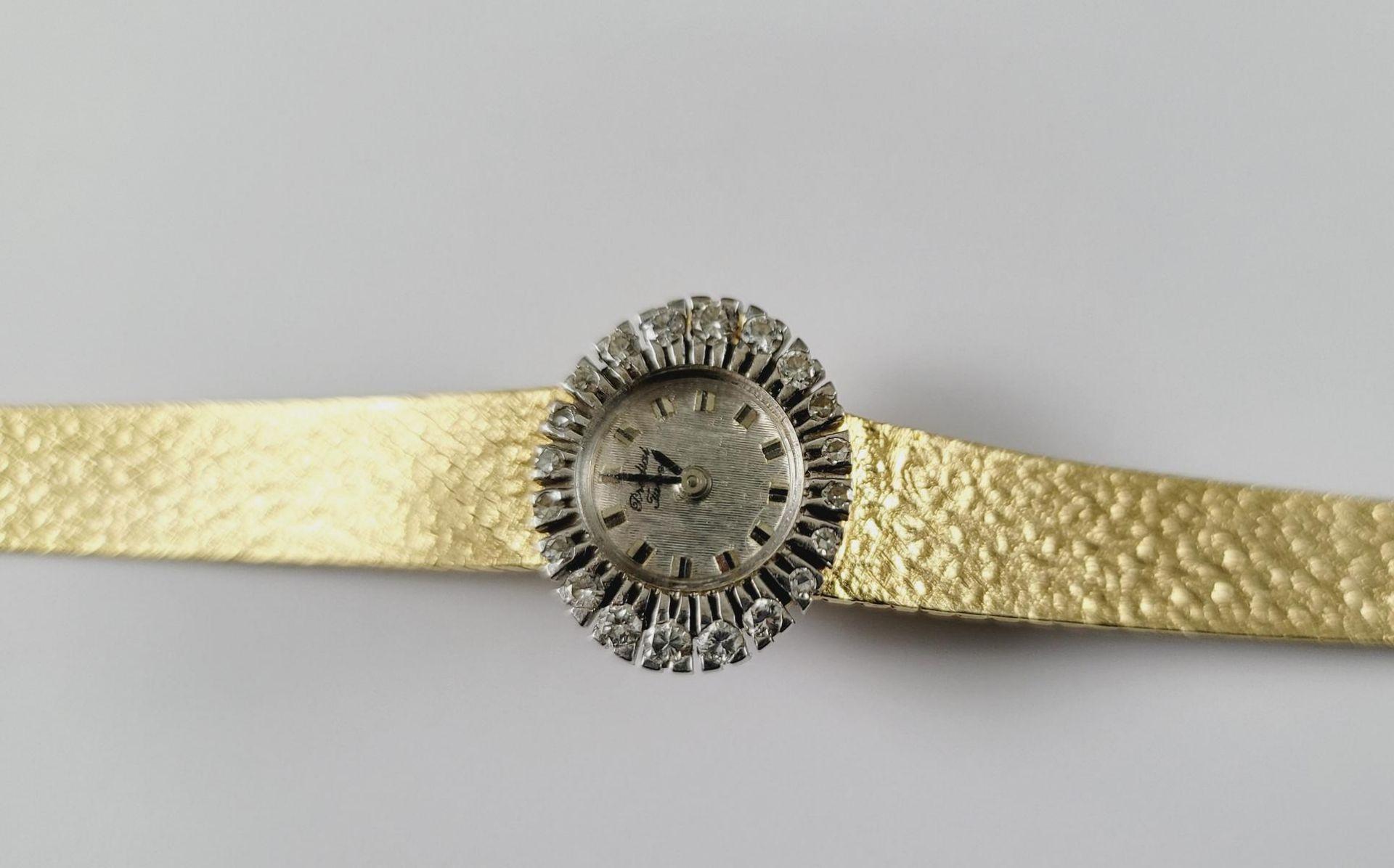 Damenarmbanduhr mit Diamanten, 18 Karat Gelbgold - Bild 2 aus 4