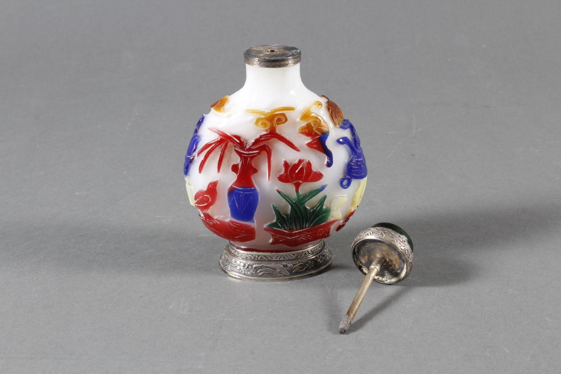 Snuff bottle, Überfangglas mit Silbermontur, China Anfang 20. Jahrhundert - Bild 7 aus 12