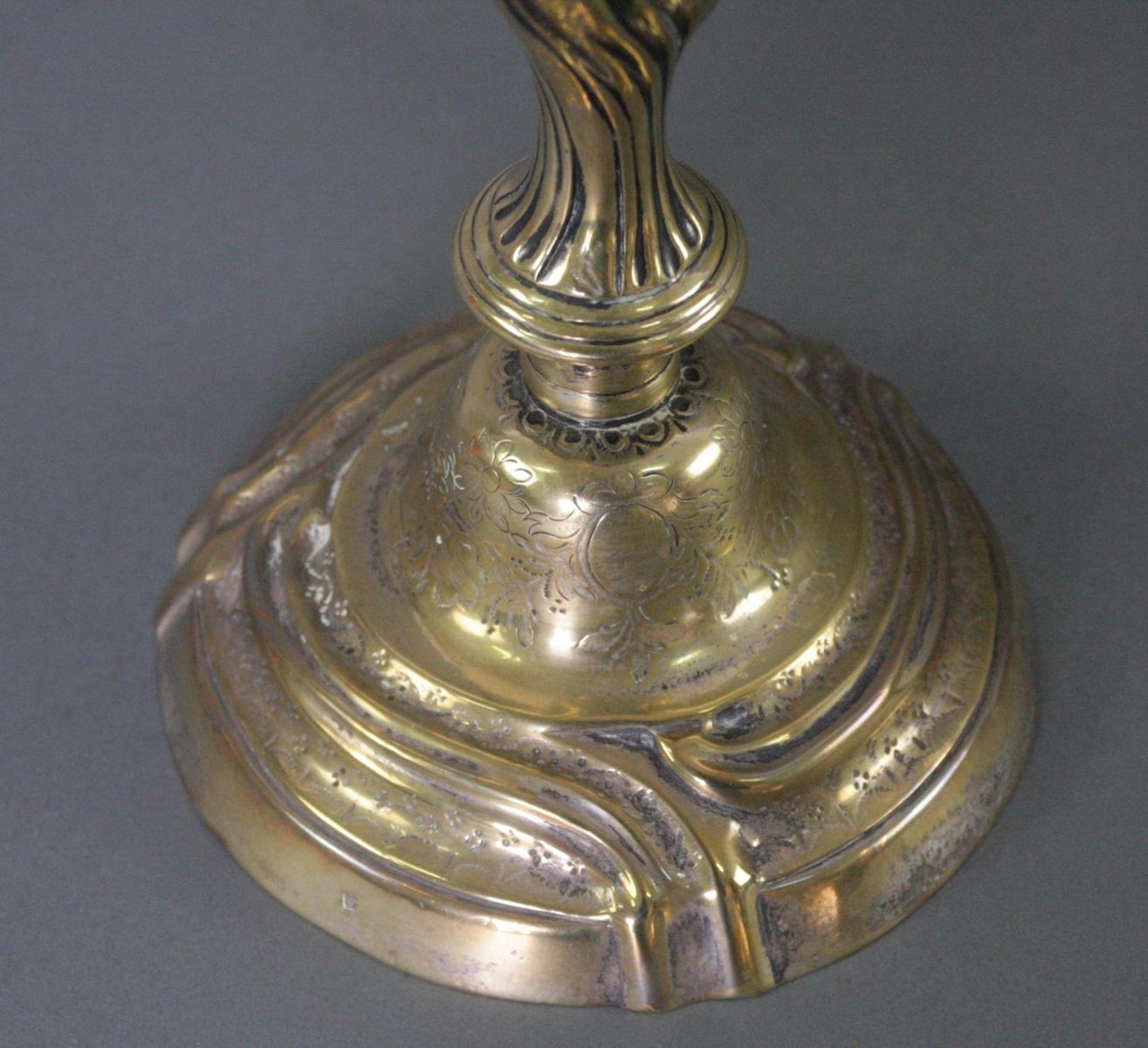Kerzenhalter versilbert und vergoldet, 19. Jahrhundert - Bild 2 aus 5