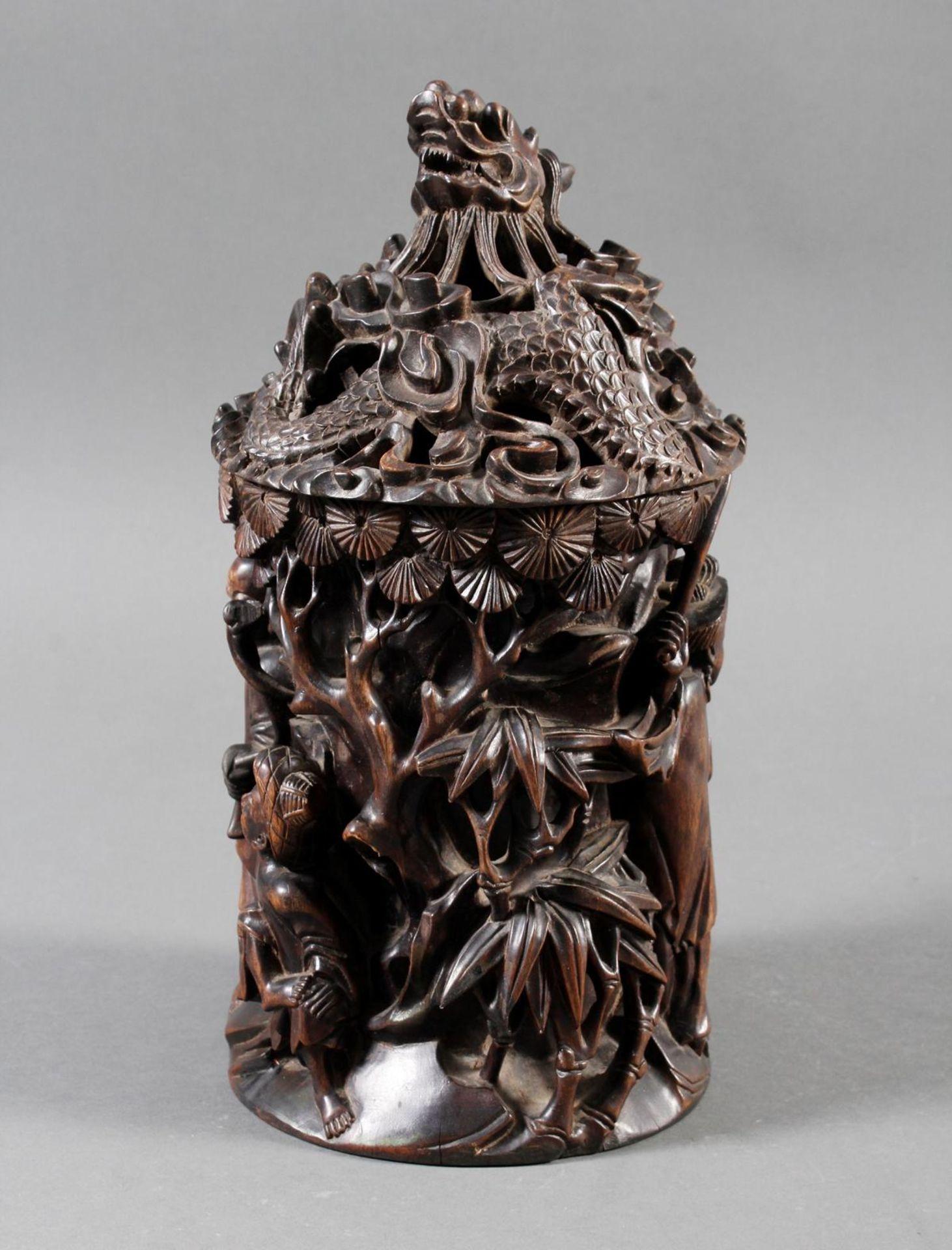 Pinselbecher mit Deckel, China ,Qing Zeit 18. / 19. Jahrhundert - Bild 5 aus 15