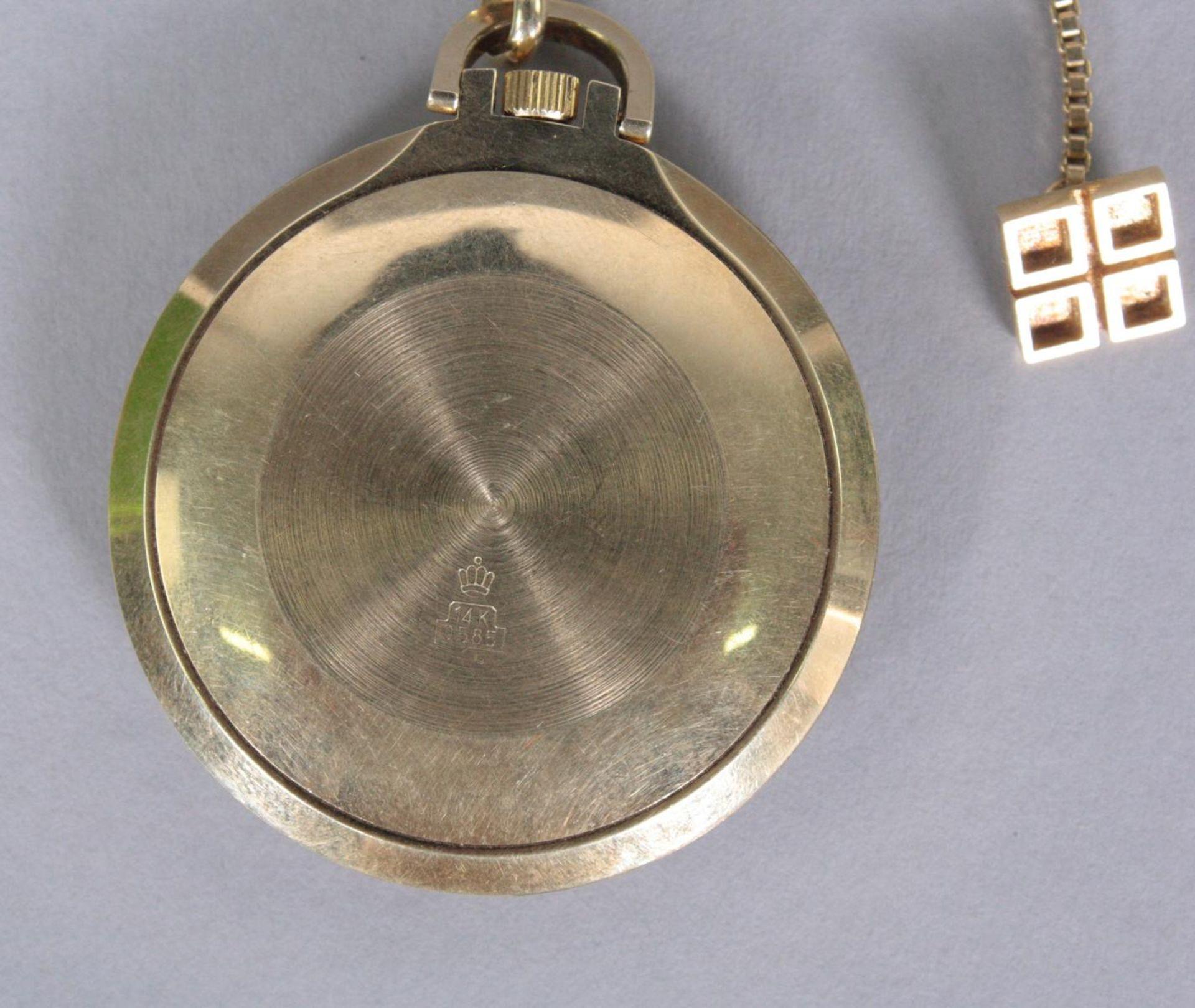 Taschenuhr mit Uhrenkette, 14 Karat Gelbgold - Bild 3 aus 3