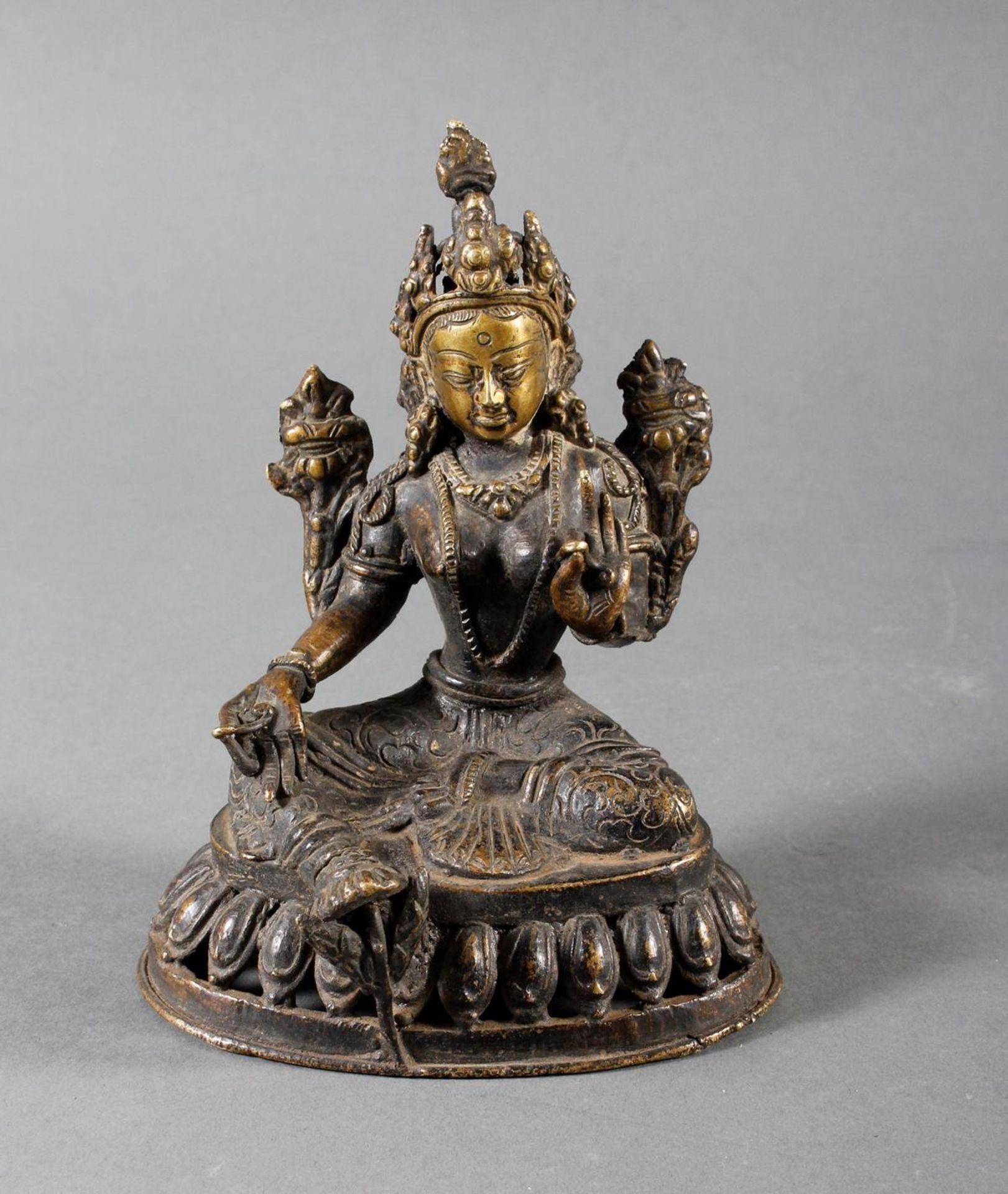 Bronze Buddha, Tara, Tibet, 18. / 19. Jahrhundert