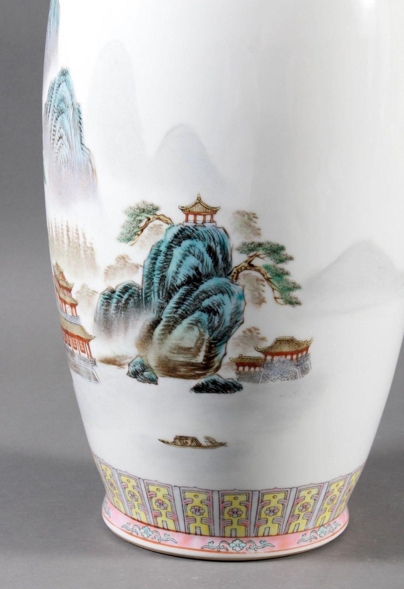 Porzellan Bodenvase, China 20. Jahrhundert - Bild 7 aus 12