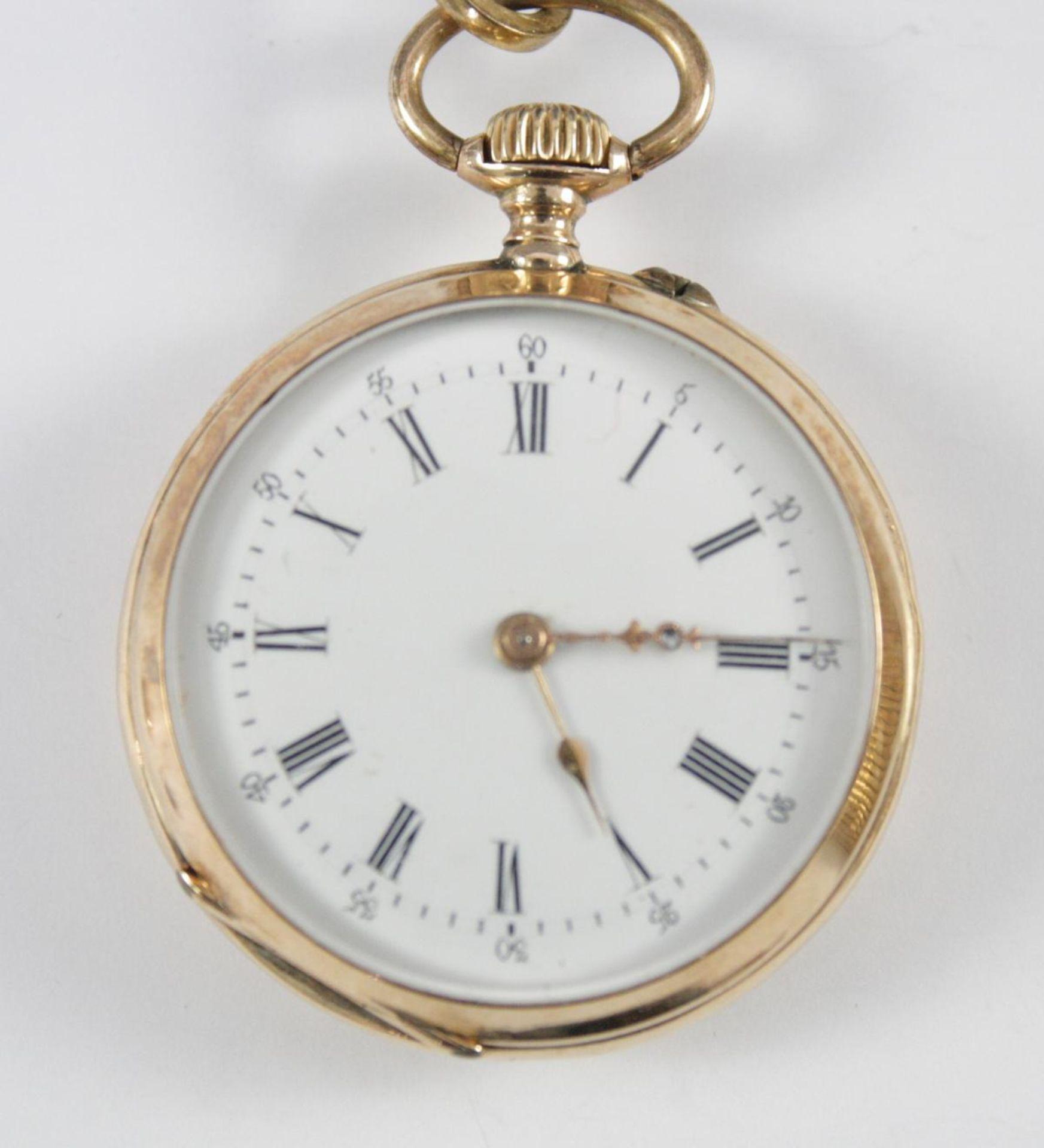 Goldene Damentaschenuhr, 14 Karat Gelbgold - Bild 2 aus 6