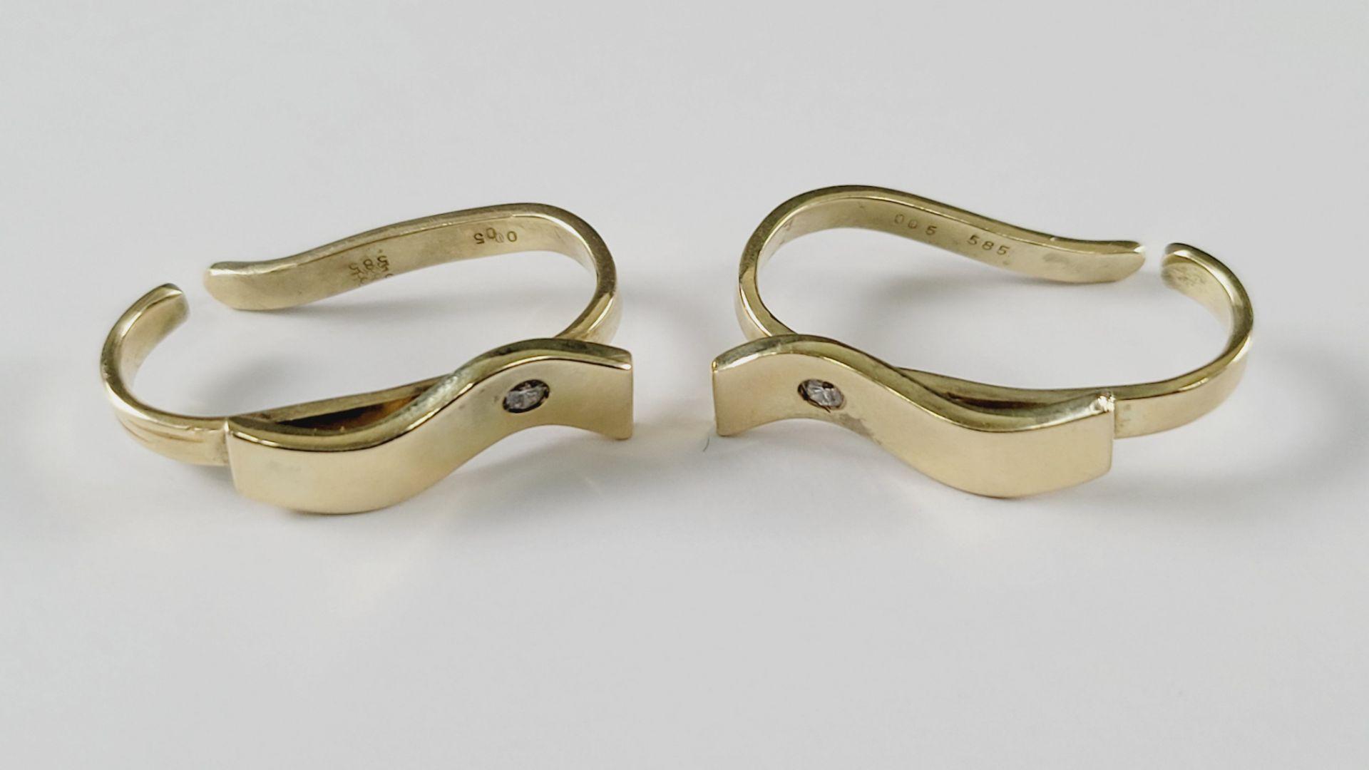 Tuchringe mit Diamanten, 14 Karat Gelbgold - Bild 2 aus 2
