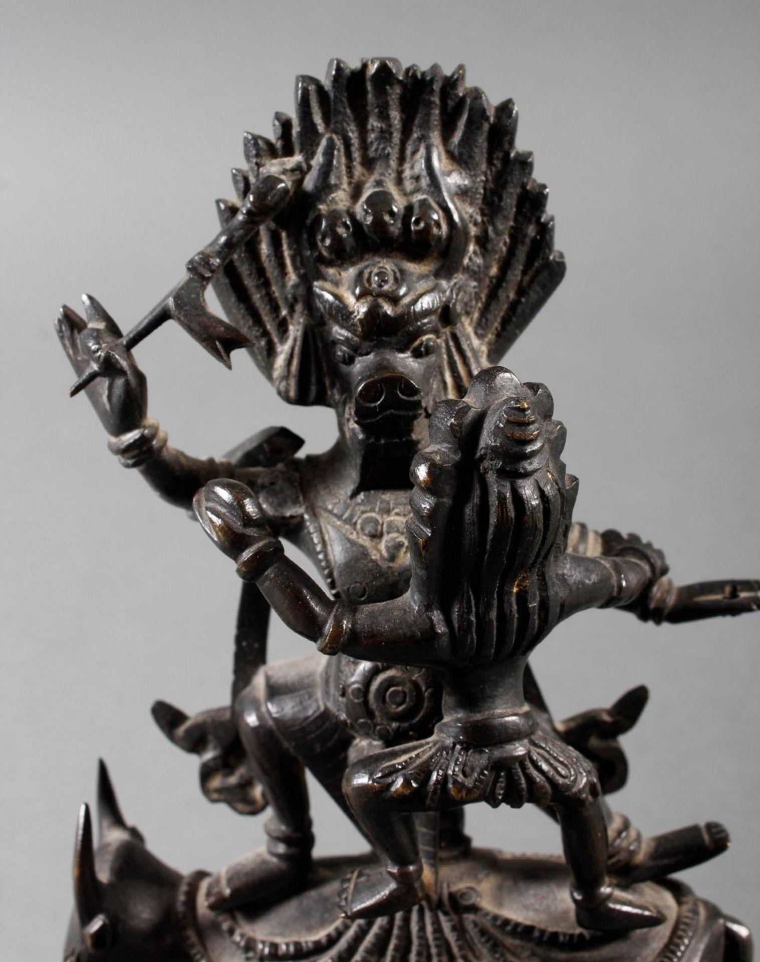 Bronzeskulptur Mahakala, Tibetanische Gottheit, 18./19. Jahrhundert - Bild 6 aus 7