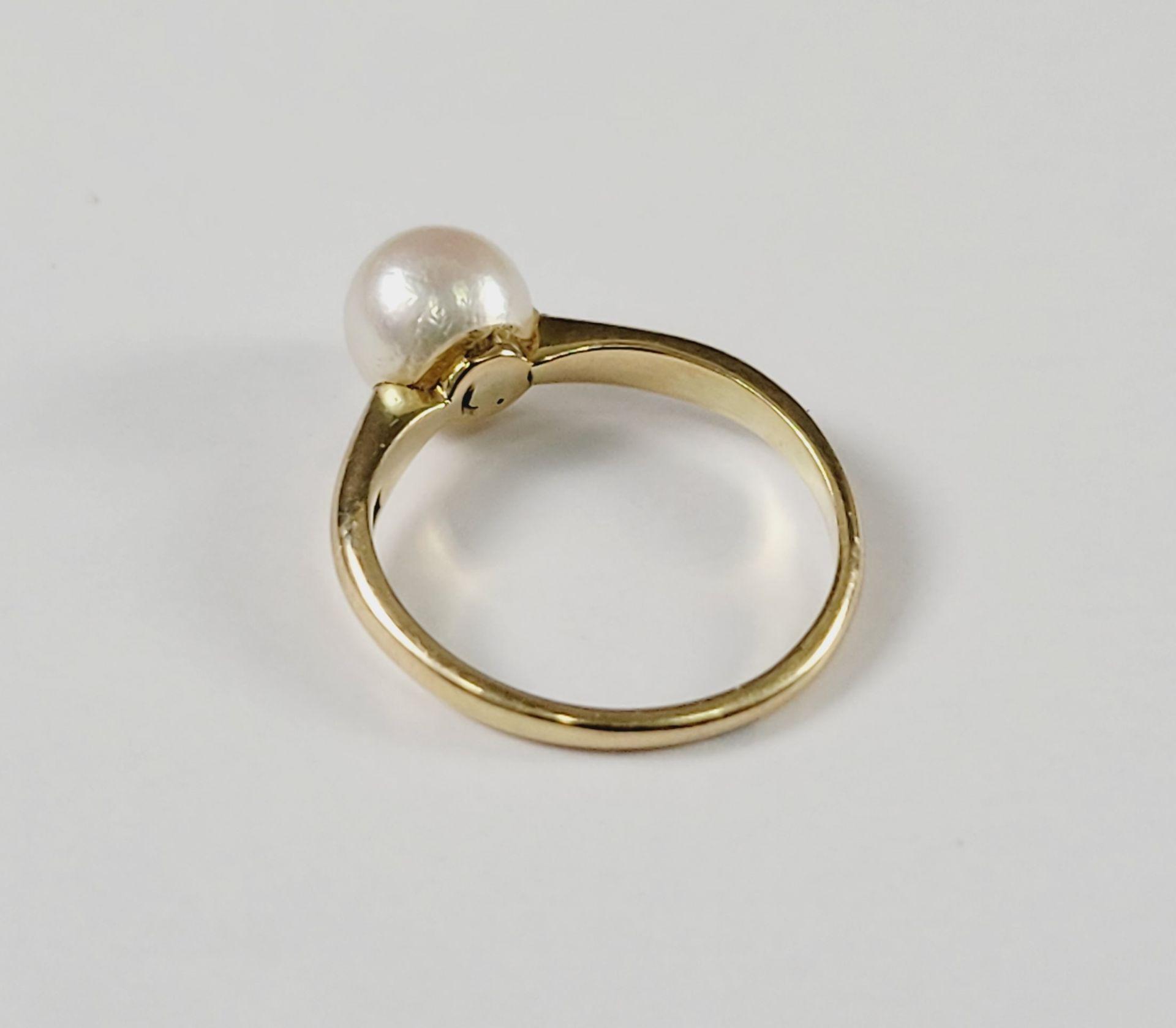 Damenring mit Perle, 14 Karat Gelbgold - Bild 2 aus 2