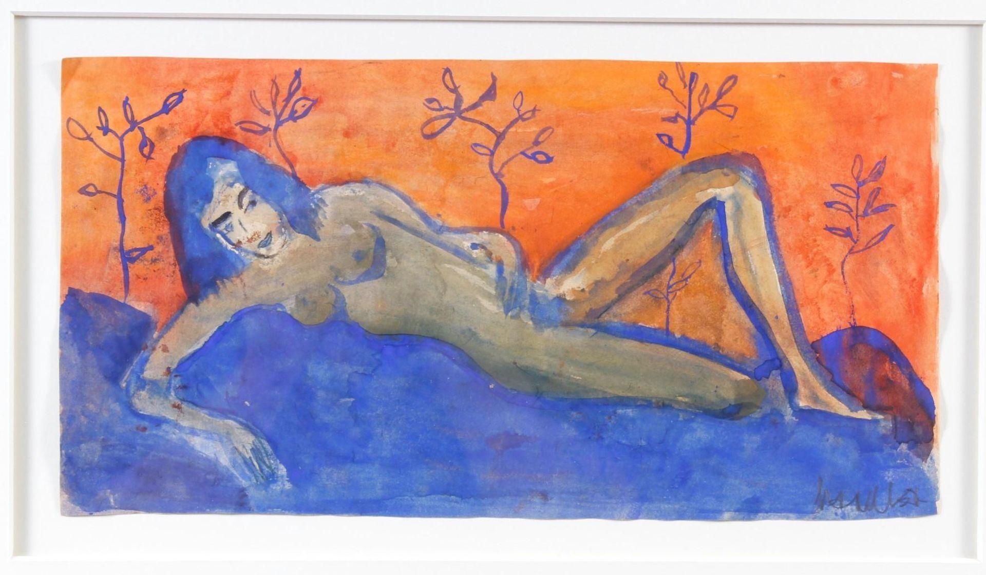 Aquarell, Liegender Frauenakt - Bild 2 aus 5