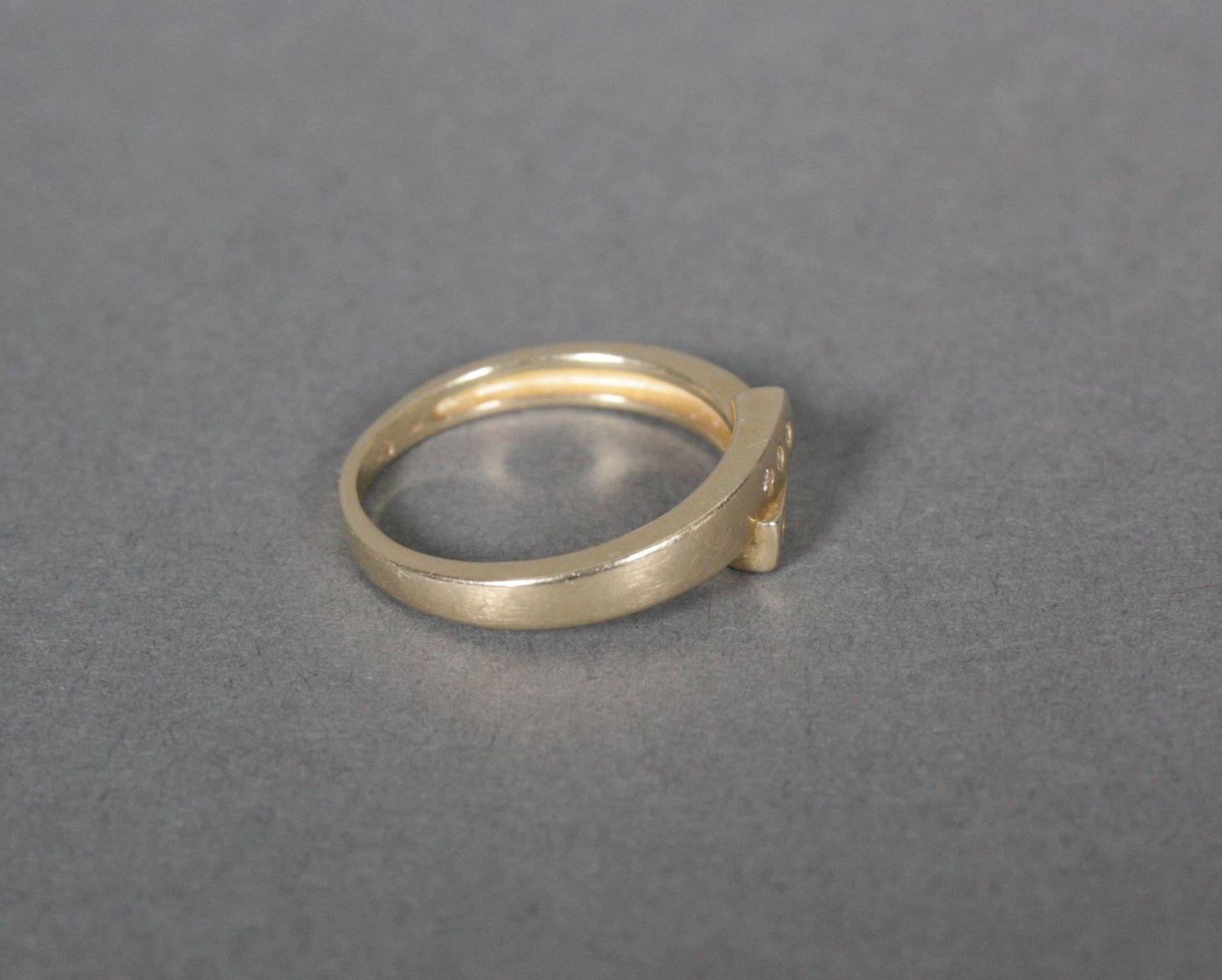 Damenring mit Diamanten, 14 Karat Gelbgold - Bild 3 aus 4