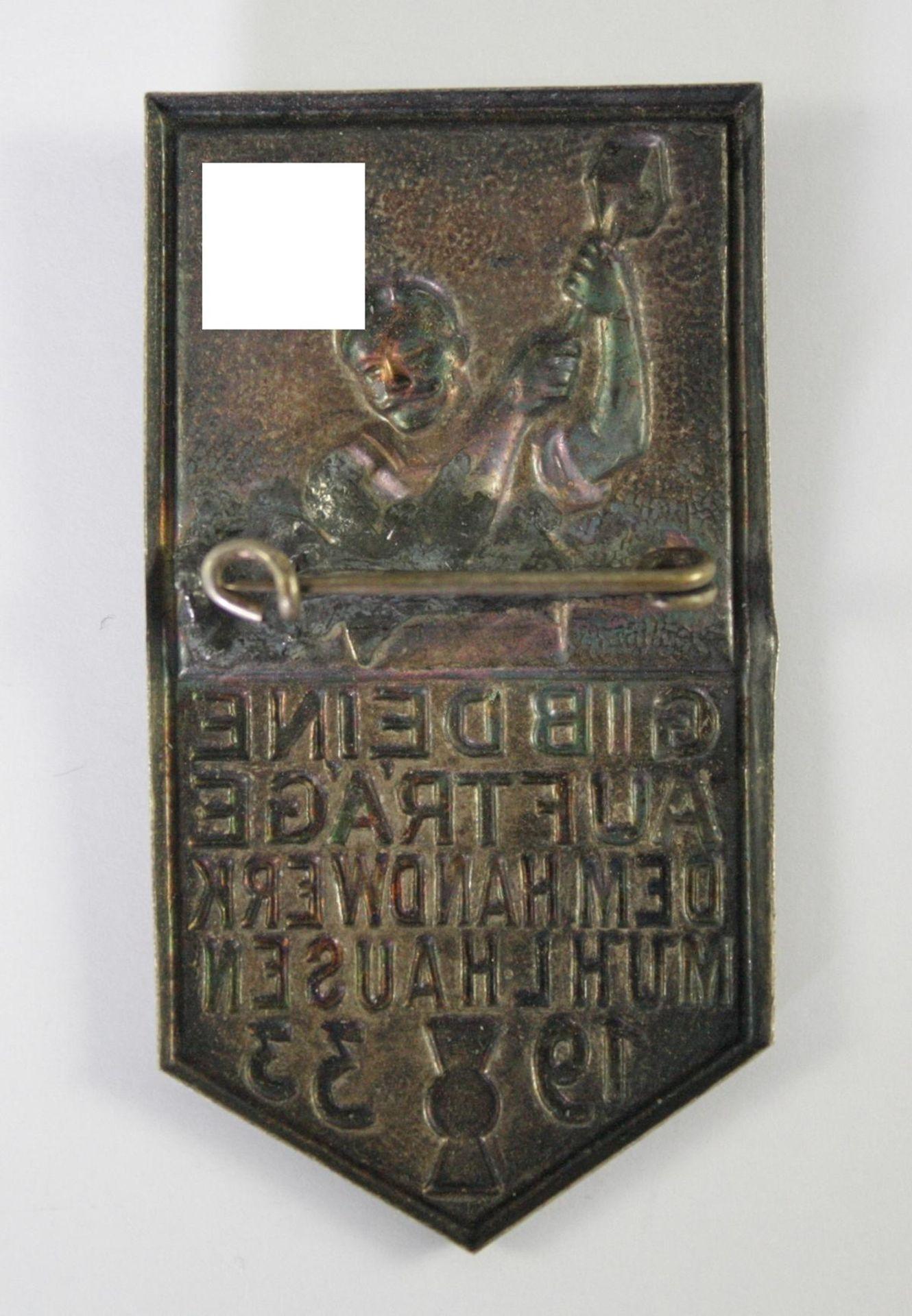 Abzeichen, Gib deine Aufträge dem Handwerk Mühlhausen, 1933 - Bild 2 aus 2
