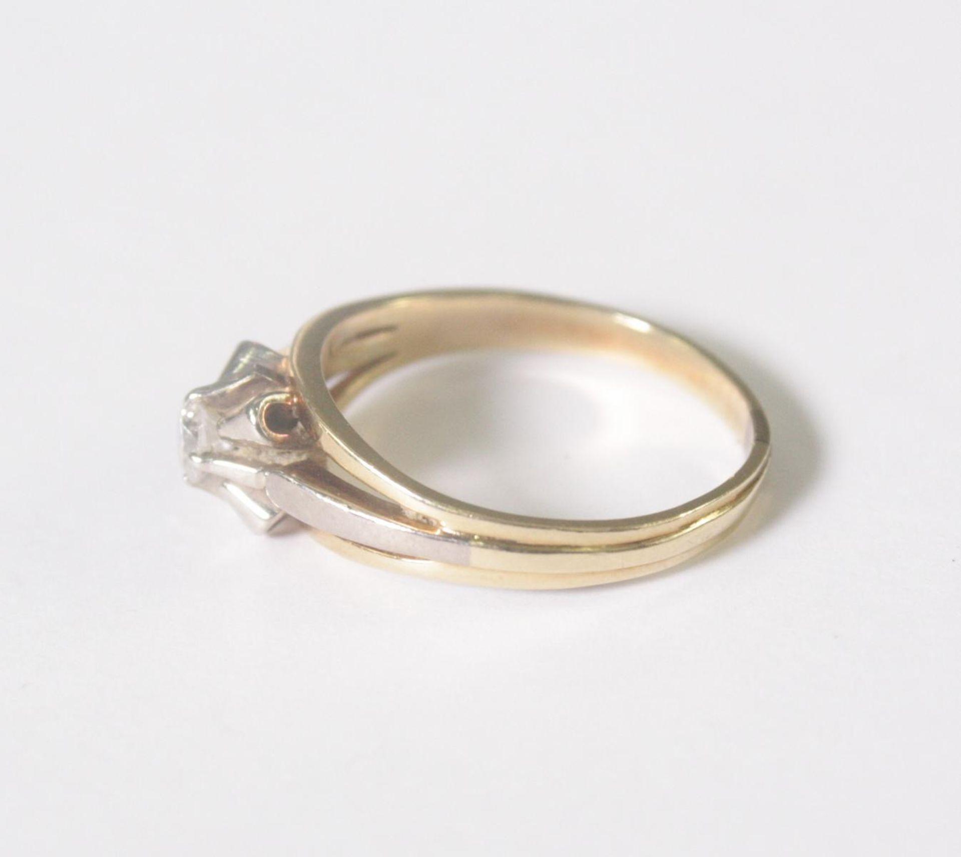 Damenring mit Diamant, 14 Karat Gelbgold - Bild 3 aus 4
