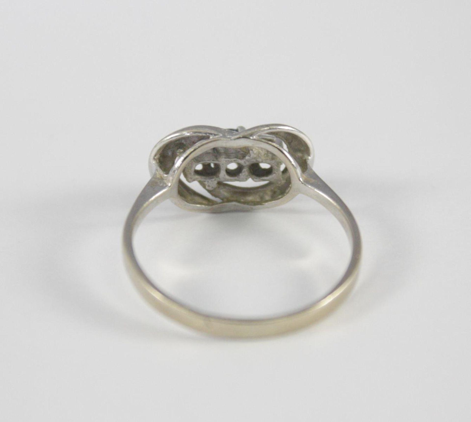 Damenring mit Saphir und Diamanten, 14 Karat Weißgold - Bild 3 aus 3