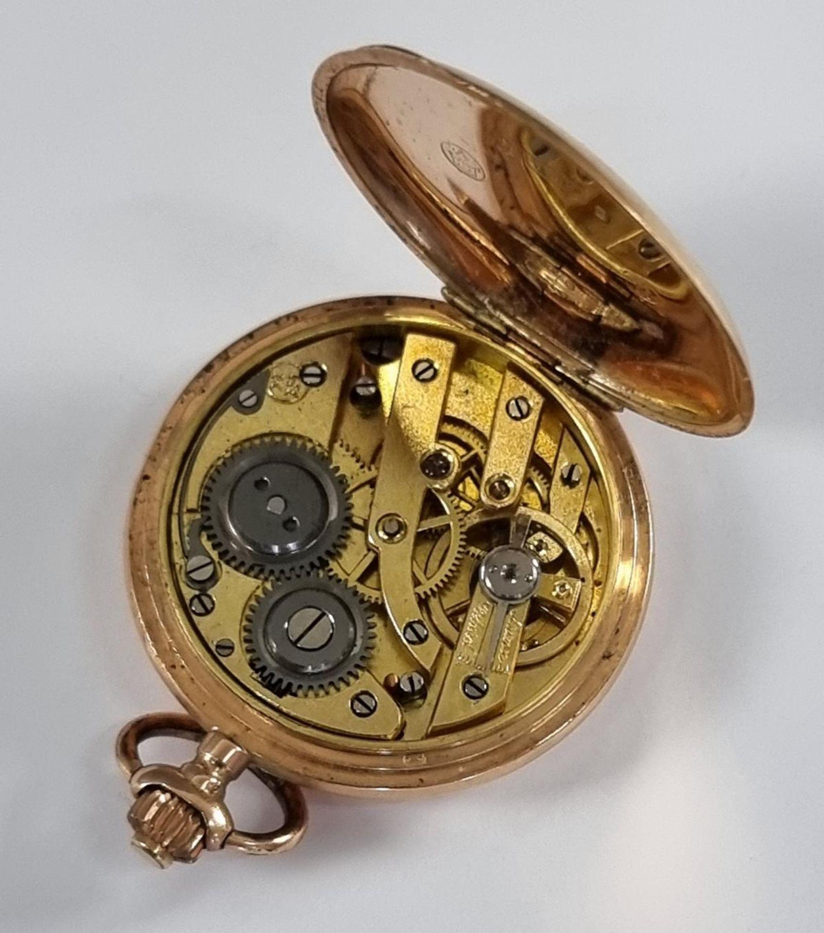 Goldene Damentaschenuhr, 14 Karat Gelbgold - Bild 3 aus 7