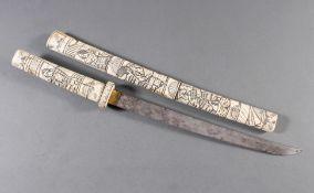 Kurzschwert aus Hirschhorn, Japan Meiji Periode