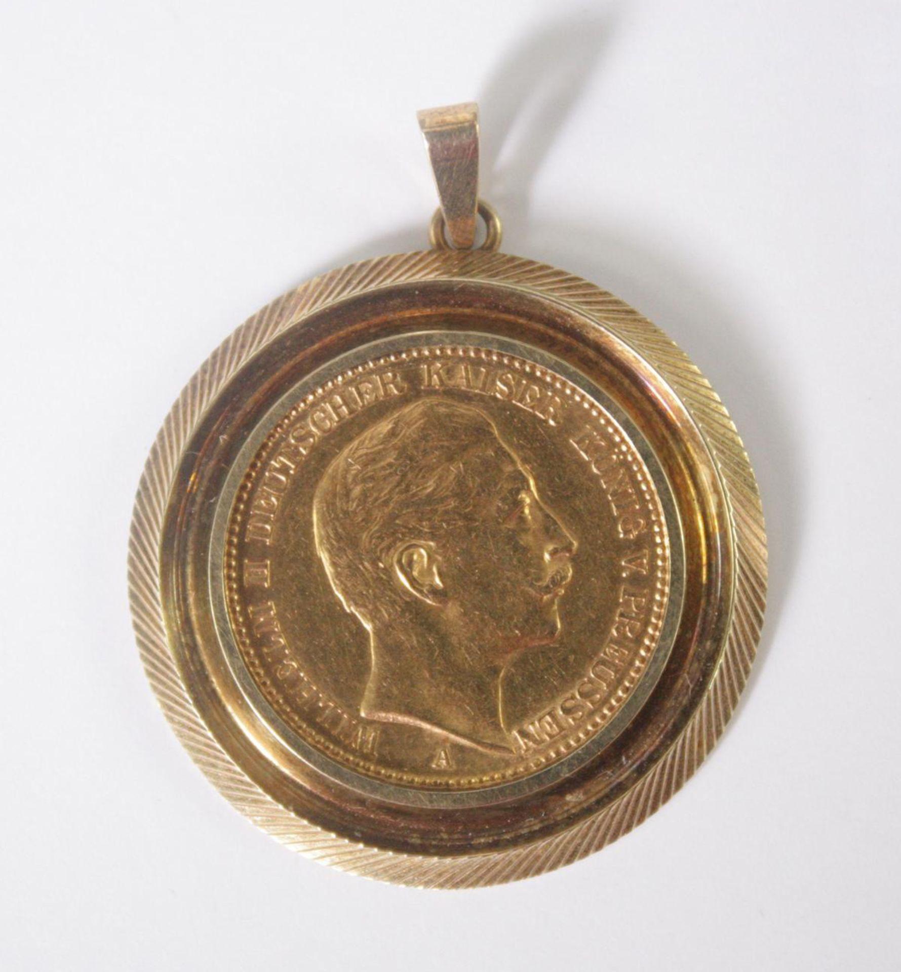 Anhänger mit 20 Mark Münze 1903 A Wilhelm II