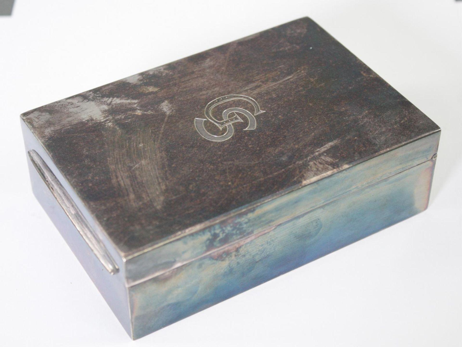 Silberne Deckeldose mit Monogramm GS, Zigarettendose - Bild 2 aus 6