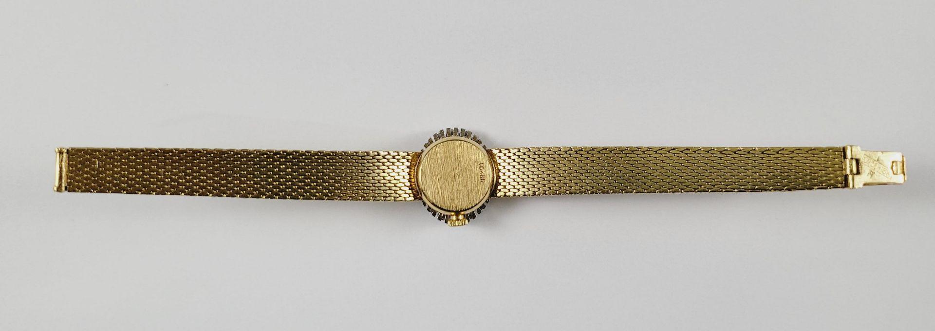 Damenarmbanduhr mit Diamanten, 18 Karat Gelbgold - Bild 3 aus 4