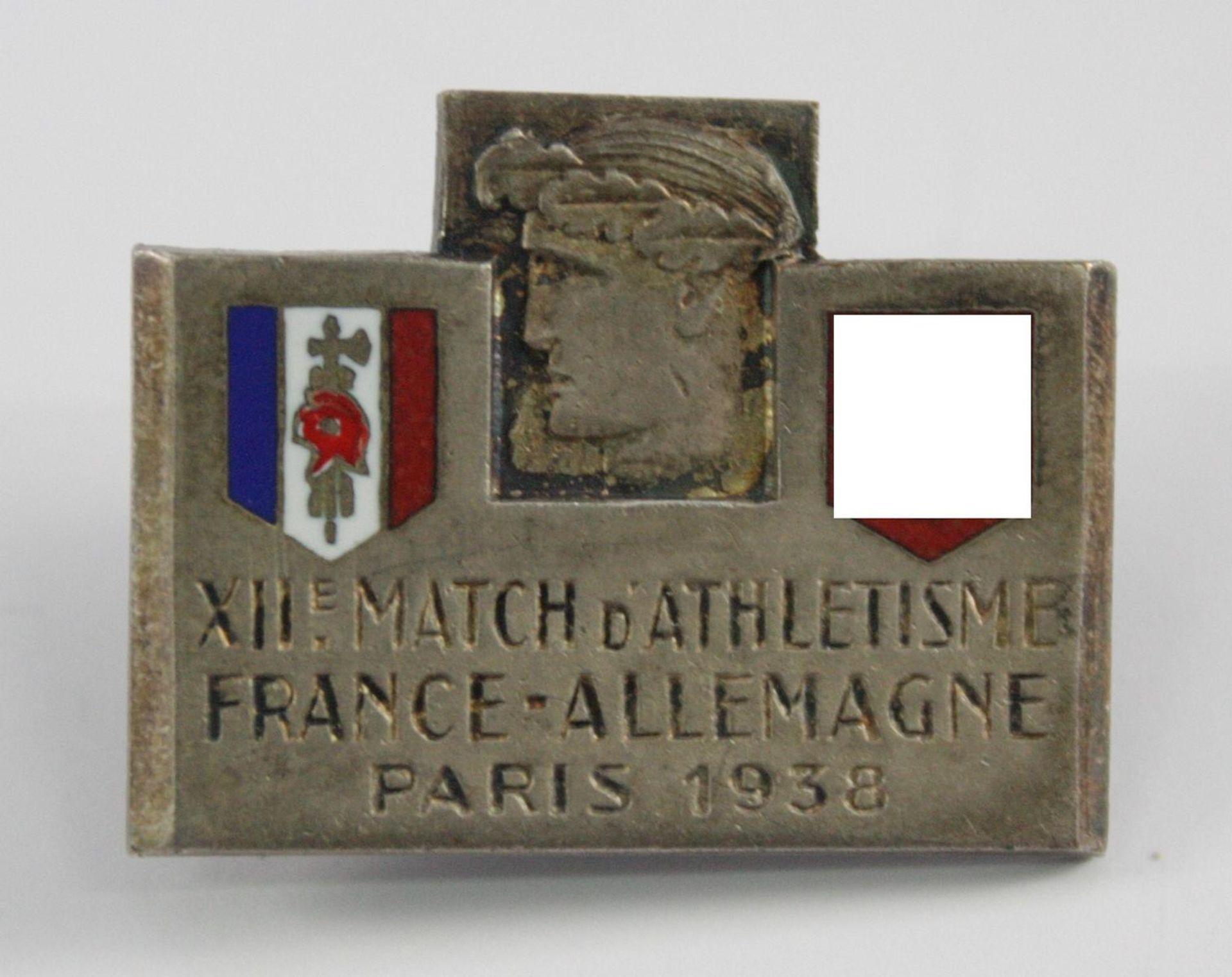 Anstecker: 12. Leichtathletik-Wettkampf - Frankreich-Deutschland 1938